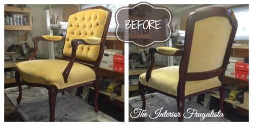 Armchair Before Painting Upholstery With Chalk Paint