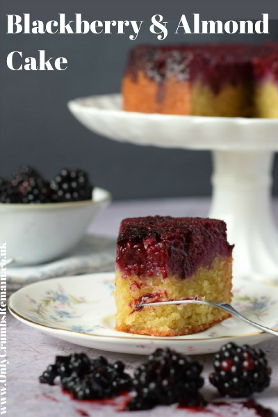 #Blackberry and Almond #Cake is a really easy cake making great use of #seasonal #foraged #berries.  It's presented as an upsidedown cake and is definitely #onetomake.