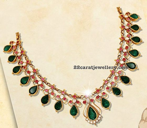 Emerald and Uncut diamond Choker by Nac
