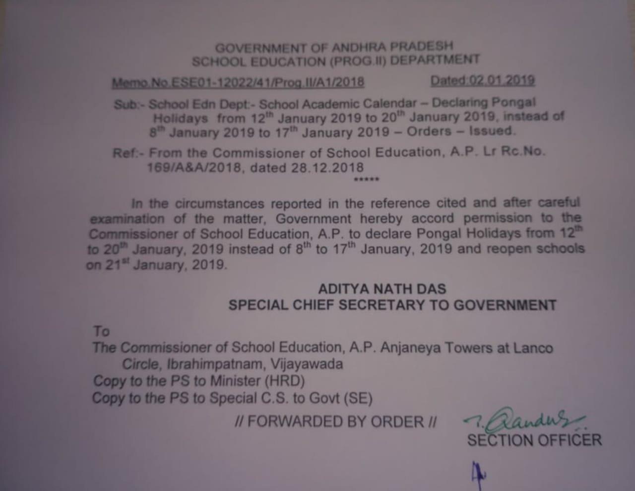AP Schools Pongal/Sankranthi Holidays from 12th Jan to 20th Jan 2019