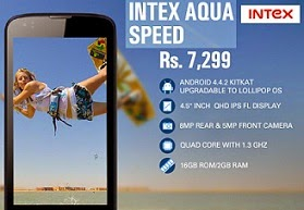 Exclusive Intex Aqua Speed SmartPhone | Quad Core 1.3Ghz| 3G | Upgradable LOLIPOP for Rs.6788 Only @ ebay