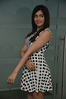 Actress Adah Sharma Latest Pictures in Polka Dot Falbala Sleeveless Dress 0017