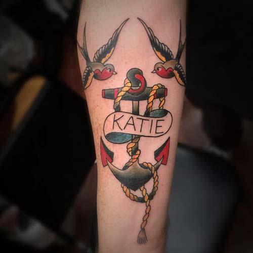 anchor tattoo with name isimli çapa dövmesi