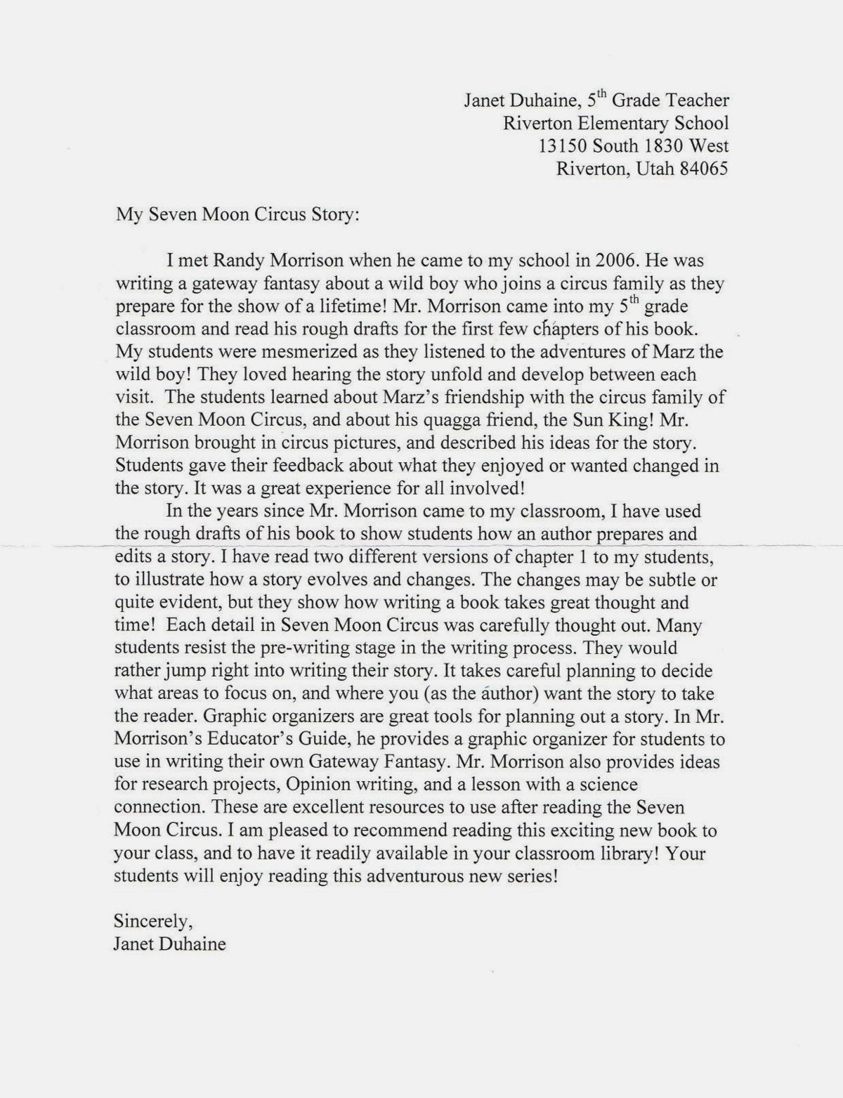 Online cover letter to unknown recipient
