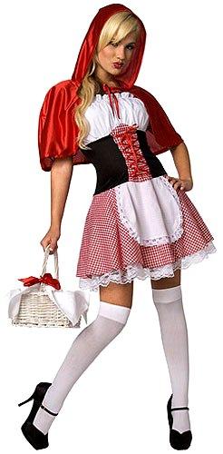 Foto de mujer con vestimenta de Caperucita Roja con panty blanco