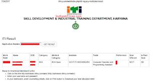 ITI Haryana Merit List