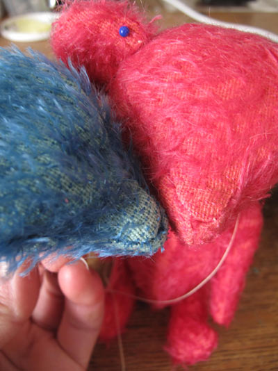 mohair bears red blue