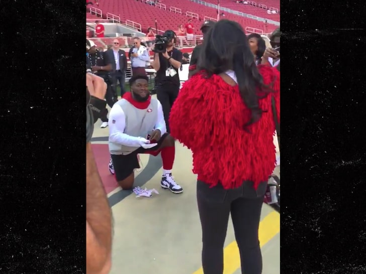 49ers' D.J. Jones Proposes To Girlfriend Before Browns Game On Sideline...She Said Yes!!!