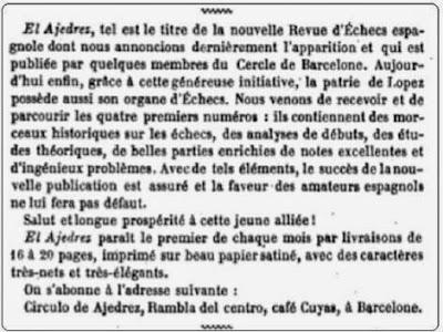 Información sobre la revista El Ajedrez en La Nouvelle Régence