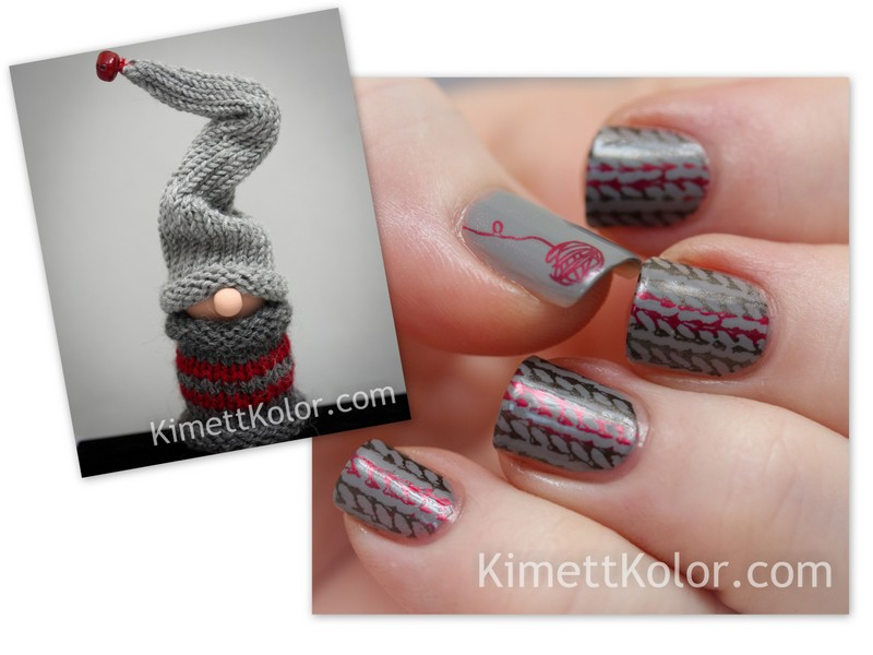 nail art inspiration knitted gnome decoration