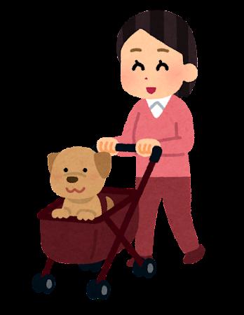 ペットカートを押す人のイラスト(犬)