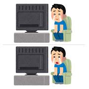 泣きながらテレビを見る人のイラスト(男性)