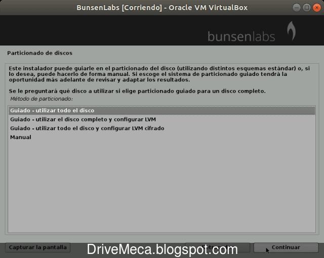 Elegimos como queremos particionar el disco para Linux