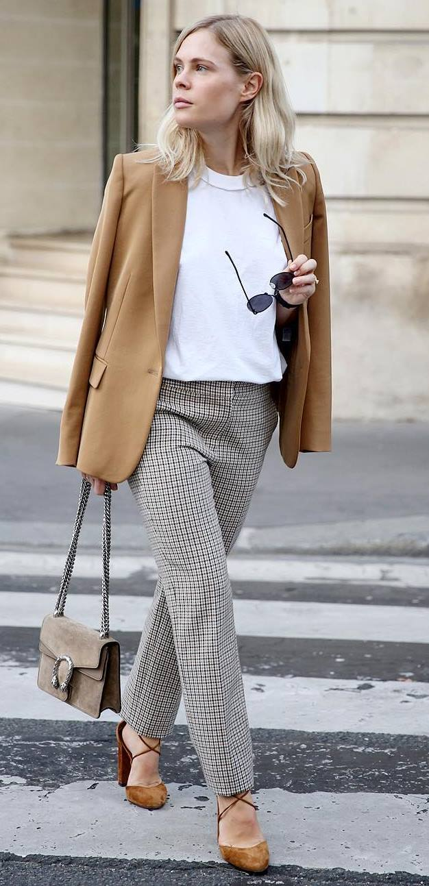 office style incredible: jacket + top + bag + plaid flannel pants