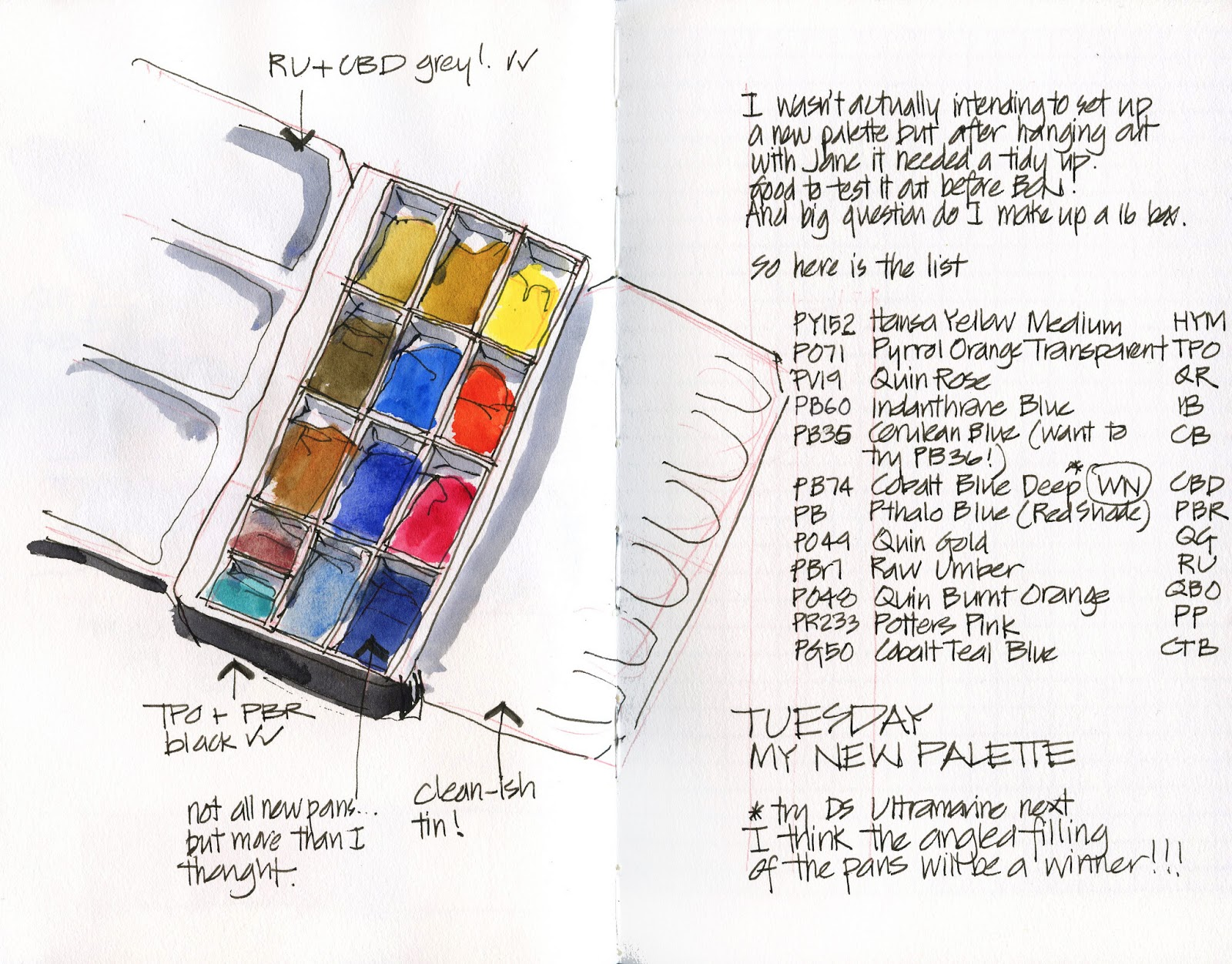 My new palette - after colour mixing with Jane Blundell