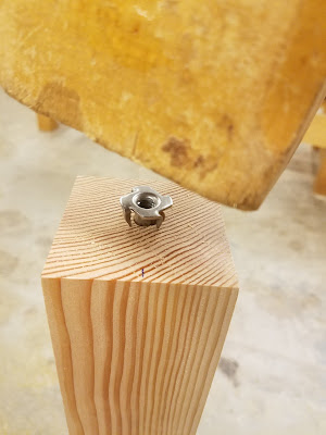 threaded inserts provide screw access in the endgrain without splitting the wood