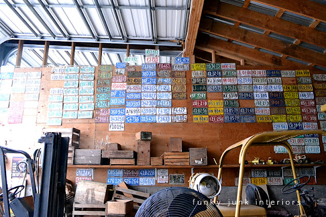 Antique license plates / Junkin' day at Granny and Grumpa's Antiques in Abbotsford, BC via FunkyJunkInteriors.net