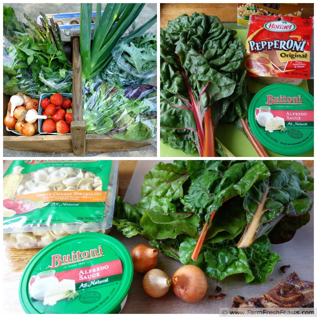 A variety of ingredients used to make Fast Greens and Pasta dishes.