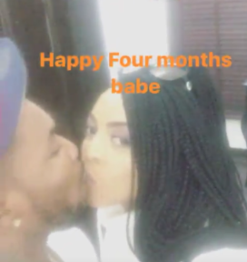 Oritse Femi and wife kiss as they celebrate their 4th month wedding anniversary