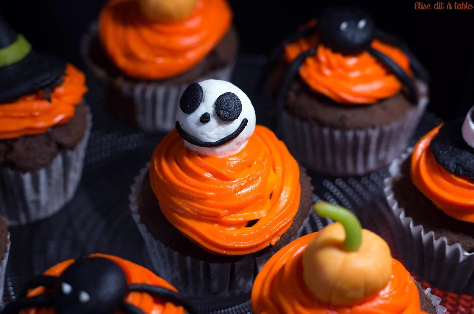 Cupcake d'Halloween sur le blog Elise dit à table !