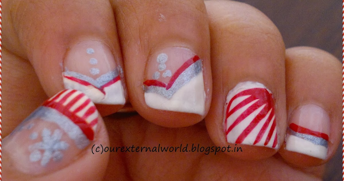 Christmas Nail Art - Candy Cane Nails With Tutorial