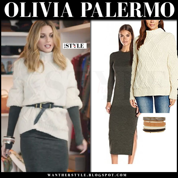Olivia Palermo in cream chunky knit belted sweater people tree and grey bodycon dress french connection amazon video what she wore