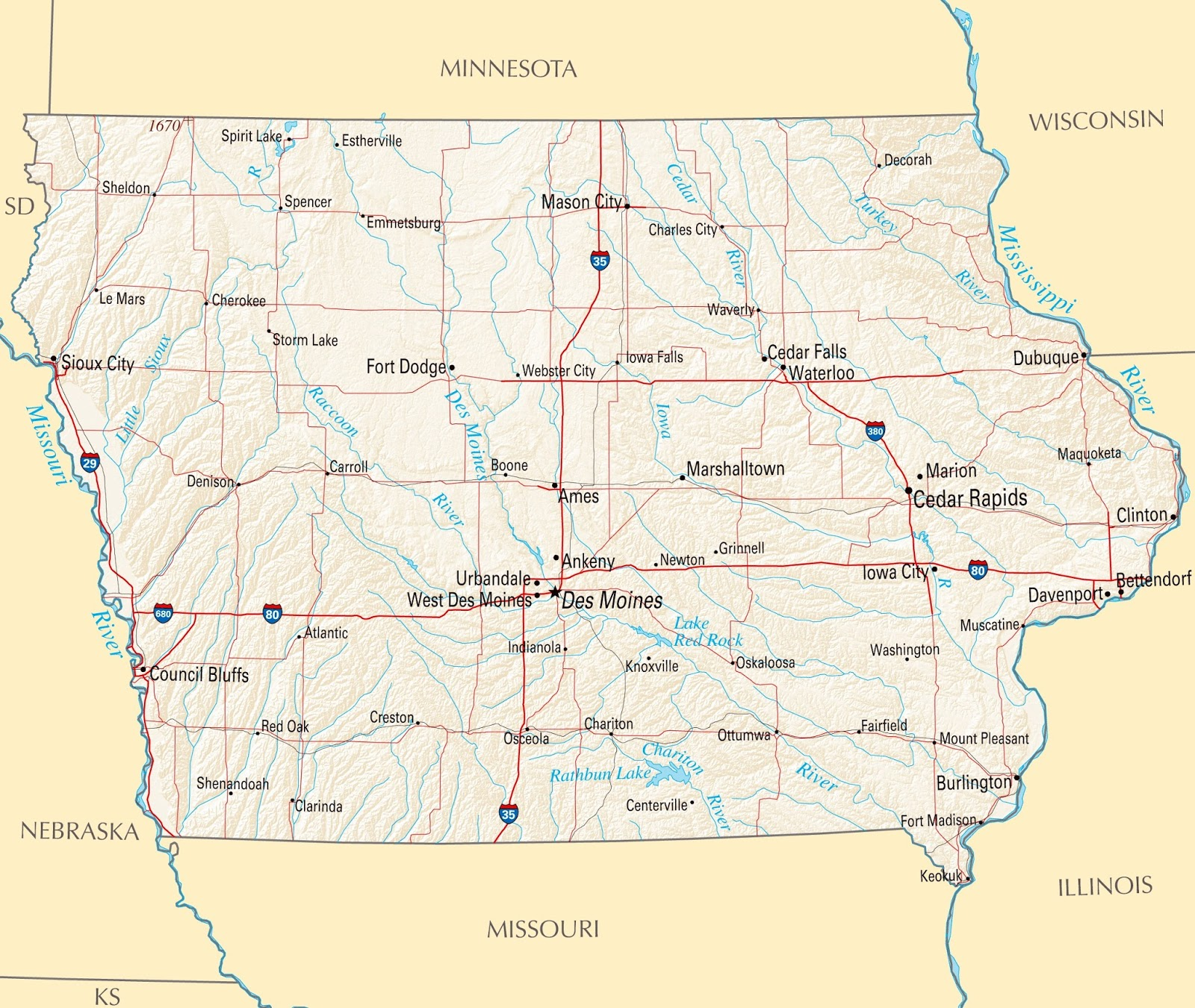 Map of Iowa State Map of USA
