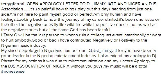 Terry G apologizes to all Nigerian DJs after slapping a DJ at show