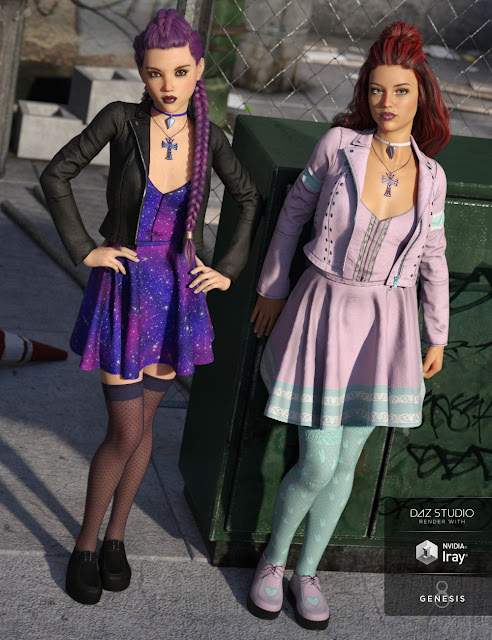 Pastel Goth Outfit Textures