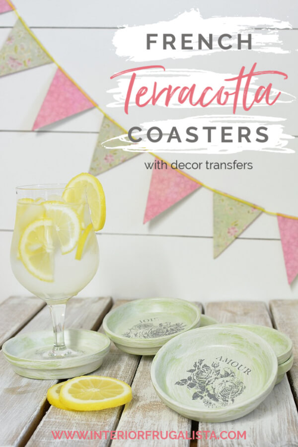 How to repurpose dollar store terracotta flower pot saucers into pretty summer drink coasters with French Country style using floral decor transfers. #diydrinkcoasters #summerdrinkcoasters #frenchcountrystyle #dollarstorecraft