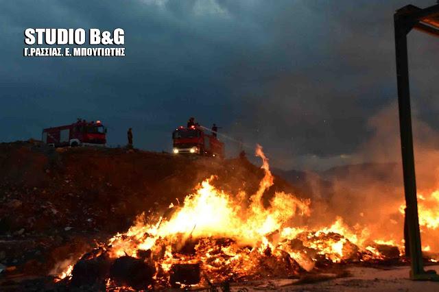 Πυρκαγιά στον σκουπιδότοπο του Άργους  (βίντεο)