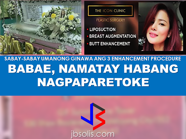 "A woman who was in her late 20's died while she was undergoing aesthetic procedures at a local clinic named The Icon Clinic located at Mandaluyong City.   Shiryl Saturnino, 29 was said to be a regular client of the clinic for years according to the clinic's lawyer, and the incident also saddened them as it was really unexpected and unfortunate. Shyril underwent 3 aesthetic operation procedures which includes, liposuction, butt enhancement and breast augmentation simultaneously. Shortly after the procedure, the doctors noticed that Shiryl has no heartbeat. They called an ambulance and brought Shiryl to the hospital. After a moment, the victim was pronounced dead. The family of the victim, however, seek to sue the clinic who did the operation procedures for what happened to their loved one. According to the mother, even if the patient agreed to do simultaneous operations, the doctor has to consider the patient's capability to be undergoing such kind of procedures and they are deemed answerable for their patient's death. RECOMMENDED: WHO WANTS TO BE AN OFW MILLIONAIRE? GUSTO MO BANG MAGING MILYONARYO? BASAHIN MO ITO AGAD. NGAYON NA! Never Work Again, a webinar by OFW couple Terence and Emelia Lim, who earned millions while working abroad launched with the cooperation of Filinvest International, a real estate development company, gives OFWs a chance to be a millionaire. The project they called ""Be The Next OFW Millionaire"", invites the OFWs to join and participate in an online to learn how to invest their salaries effectively. To earn more raffle entries, the participants must complete a required test successfully after the webinar and refer it to their friends. Registered participants with the most number of referrals within the cut-off periods will receive P50,000 and the grand prize winner will receive P1,000,000 on April 14, 2017.  Benedict Bigal, Be The Next OFW Millionaire's previous winner,  was a chef de partie in Kuwait before he participated in the Never Work Again seminar.   The Lim couple were working at Milan, Italy cleaning toilets and moving boxes at a warehouse and then they entered a property investment venture. That's where they earned their first million. They were doing the property selling as part-time agents then they learned the trade so good that their part-time earning exceeds what they make on their regular jobs. As they become successful in doing it, the couple aimed to break the cycle that the OFWs are experiencing--""the rich now, poor later"" kind of lifestyle. They started the ""Never Work Again"" webinar to help OFWs break the cycle and invest through it. So how do you become a millionaire just by  participating in the webinar?  Let's look at the mechanics.     For complete info, click here.  Source: GMA News, Filinvest International RECOMMENDED: 2017 Top 10 IDEAS for OFWs to Invest Before an OFW can return to the Philippines for good, a lot of considerations should be made, one of which is that ""If I decided to go home for good, will I be able to sustain my family's financial needs?"" Financial stability is one of the reason why the OFWs  decided to work abroad. You will often hear most of the OFWs say: ""A few more years and I will stop working abroad to be able to be with my beloved family..""  Yes, easier said than done. But it can be made possible by proper planning. What you need to do is to think of an investment, a business for example, that you can start to sustain your family that does not require you to work abroad. An ex-OFW who is now a successful businessman in a field he has chosen after working abroad once said that you need to plan for your return for good to the Philippines even before you can actually work abroad. Set your plans and stick to it. Choose a profitable business that suits your talent and resources.   Here are the 10 Investment suggestions for OFWs who wants to go back home for good:  1. Put up a travel agency.  2. Recruitment Agency business.  3. Buy and sell.   4. Online selling or online store   5. Invest in Stock Market   6. Variety store business  7. Food Cart business  8. Venture in Restaurant Franchising   9. Bank Mutual Funds Investing  10. Investing in Real Estate    Consider these suggestions and carefully weigh things for the business investment you are planning to do. Early planning will allow you to properly invest your hard-earned money into a profitable income generator that will allow you earn without leaving your family behind.        75 Sites Closed Down by Saudi Authorities For Selling Fake Goods  The Ministry of Trade and Investment in Saudi Arabia closed more than 75 social media accounts for posting thousands of ads for fake goods in various platforms including Twitter, Facebook, Instagram, and Snapchat.According to the ministry, they took a step to protect  about 1.5 million followers falling victim to these bogus promo items.  ©2017 THOUGHTSKOTO www.jbsolis.com Consider these suggestions and carefully weigh things for the business investment you are planning to do.Early planning will allow you to properly invest your hard-earned money into a profitable income generator that will allow you earn without leaving your family behind.    Read more:  Philippine News Now is a fake website that copies the works of other news agencies and blogs.   Why OFWs Remain in Neck-deep Debts After Years Of Working Abroad? From beginning to the end, the real life of OFWs are colorful indeed.  To work outside the country, they invest too much, spend a lot. They start making loans for the processing of their needed documents to work abroad.  From application until they can actually leave the country, they spend big sum of money for it.  But after they were being able to finally work abroad, the story did not just end there. More often than not, the big sum of cash  they used to pay the recruitment agency fees cause them to suffer from indebtedness.  They were being charged and burdened with too much fees, which are not even compliant with the law. Because of their eagerness to work overseas, they immerse themselves to high interest loans for the sake of working abroad. The recruitment agencies play a big role why the OFWs are suffering from neck-deep debts. Even some licensed agencies, they freely exploit the vulnerability of the OFWs. Due to their greed to collect more cash from every OFWs that they deploy, it results to making the life of OFWs more miserable by burying them in debts.  The result of high fees collected by the agencies can even last even the OFWs have been deployed abroad. Some employers deduct it to their salaries for a number of months, leaving the OFWs broke when their much awaited salary comes.  But it doesn't end there. Some of these agencies conspire with their counterpart agencies to urge the foreign employers to cut the salary of the poor OFWs in their favor. That is of course, beyond the expectation of the OFWs.   Even before they leave, the promised salary is already computed and allocated. They have already planned how much they are going to send to their family back home. If the employer would cut the amount of the salary they are expecting to receive, the planned remittance will surely suffer, it includes the loans that they promised to be paid immediately on time when they finally work abroad.  There is such a situation that their family in the Philippines carry the burden of paying for these loans made by the OFW. For example. An OFW father that has found a mistress, which is a fellow OFW, who turned his back  to his family  and to his obligations to pay his loans made for the recruitment fees. The result, the poor family back home, aside from not receiving any remittance, they will be the ones who are obliged to pay the loans made by the OFW, adding weight to the emotional burden they already had aside from their daily needs.      Read: Common Money Mistakes Why Ofws remain Broke After Years Of Working Abroad   Source: Bandera/inquirer.net NATIONAL PORTAL AND NATIONAL BROADBAND PLAN TO  SPEED UP INTERNET SERVICES IN THE PHILIPPINES  NATIONWIDE SMOKING BAN SIGNED BY PRESIDENT DUTERTE   EMIRATES ID CAN NOW BE USED AS HEALTH INSURANCE CARD  TODAY'S NEWS THAT WILL REVIVE YOUR TRUST TO THE PHIL GOVERNMENT  BEWARE OF SCAMMERS!  RELOCATING NAIA  THE HORROR AND TERROR OF BEING A HOUSEMAID IN SAUDI ARABIA  DUTERTE WARNING  NEW BAGGAGE RULES FOR DUBAI AIRPORT    HUGE FISH SIGHTINGS  From beginning to the end, the real life of OFWs are colorful indeed. To work outside the country, they invest too much, spend a lot. They start making loans for the processing of their needed documents to work abroad.  NATIONAL PORTAL AND NATIONAL BROADBAND PLAN TO  SPEED UP INTERNET SERVICES IN THE PHILIPPINES In a Facebook post of Agriculture Secretary Manny Piñol, he said that after a presentation made by Dept. of Information and Communications Technology (DICT) Secretary Rodolfo Salalima, Pres. Duterte emphasized the need for faster communications in the country.Pres. Duterte earlier said he would like the Department of Information and Communications Technology (DICT) ""to develop a national broadband plan to accelerate the deployment of fiber optics cables and wireless technologies to improve internet speed."" As a response to the President's SONA statement, Salalima presented the  DICT's national broadband plan that aims to push for free WiFi access to more areas in the countryside.  Good news to the Filipinos whose business and livelihood rely on good and fast internet connection such as stocks trading and online marketing. President Rodrigo Duterte  has already approved the establishment of  the National Government Portal and a National Broadband Plan during the 13th Cabinet Meeting in Malacañang today. In a facebook post of Agriculture Secretary Manny Piñol, he said that after a presentation made by Dept. of Information and Communications Technology (DICT) Secretary Rodolfo Salalima, Pres. Duterte emphasized the need for faster communications in the country. Pres. Duterte earlier said he would like the Department of Information and Communications Technology (DICT) ""to develop a national broadband plan to accelerate the deployment of fiber optics cables and wireless technologies to improve internet speed."" As a response to the President's SONA statement, Salalima presented the  DICT's national broadband plan that aims to push for free WiFi access to more areas in the countryside.  The broadband program has been in the work since former President Gloria Arroyo but due to allegations of corruption and illegality, Mrs. Arroyo cancelled the US$329 million National Broadband Network (NBN) deal with China's ZTE Corp.just 6 months after she signed it in April 2007.  Fast internet connection benefits not only those who are on internet business and online business but even our over 10 million OFWs around the world and their families in the Philippines. When the era of snail mails, voice tapes and telegram  and the internet age started, communications with their loved one back home can be much easier. But with the Philippines being at #43 on the latest internet speed ranks, something is telling us that improvement has to made.                RECOMMENDED  BEWARE OF SCAMMERS!  RELOCATING NAIA  THE HORROR AND TERROR OF BEING A HOUSEMAID IN SAUDI ARABIA  DUTERTE WARNING  NEW BAGGAGE RULES FOR DUBAI AIRPORT    HUGE FISH SIGHTINGS    NATIONWIDE SMOKING BAN SIGNED BY PRESIDENT DUTERTE In January, Health Secretary Paulyn Ubial said that President Duterte had asked her to draft the executive order similar to what had been implemented in Davao City when he was a mayor, it is the ""100% smoke-free environment in public places.""Today, a text message from Sec. Manny Piñol to ABS-CBN News confirmed that President Duterte will sign an Executive Order to ban smoking in public places as drafted by the Department of Health (DOH). If you know someone who is sick, had an accident  or relatives of an employee who died while on duty, you can help them and their families  by sharing them how to claim their benefits from the government through Employment Compensation Commission.  Here are the steps on claiming the Employee Compensation for private employees.        Step 1. Prepare the following documents:  Certificate of Employment- stating  the actual duties and responsibilities of the employee at the time of his sickness or accident.  EC Log Book- certified true copy of the page containing the particular sickness or accident that happened to the employee.  Medical Findings- should come from  the attending doctor the hospital where the employee was admitted.     Step 2. Gather the additional documents if the employee is;  1. Got sick: Request your company to provide  pre-employment medical check -up or  Fit-To-Work certification at the time that you first got hired . Also attach Medical Records from your company.  2. In case of accident: Provide an Accident report if the accident happened within the company or work premises. Police report if it happened outside the company premises (i.e. employee's residence etc.)  3 In case of Death:  Bring the Death Certificate, Medical Records and accident report of the employee. If married, bring the Marriage Certificate and the Birth Certificate of his children below 21 years of age.      FINAL ENTRY HERE, LINKS OTHERS   Step 3.  Gather all the requirements together and submit it to the nearest SSS office. Wait for the SSS decision,if approved, you will receive a notice and a cheque from the SSS. If denied, ask for a written denial letter from SSS and file a motion for reconsideration and submit it to the SSS Main office. In case that the motion is  not approved, write a letter of appeal and send it to ECC and wait for their decision.      Contact ECC Office at ECC Building, 355 Sen. Gil J. Puyat Ave, Makati, 1209 Metro ManilaPhone:(02) 899 4251 Recommended: NATIONAL PORTAL AND NATIONAL BROADBAND PLAN TO  SPEED UP INTERNET SERVICES IN THE PHILIPPINES In a Facebook post of Agriculture Secretary Manny Piñol, he said that after a presentation made by Dept. of Information and Communications Technology (DICT) Secretary Rodolfo Salalima, Pres. Duterte emphasized the need for faster communications in the country.Pres. Duterte earlier said he would like the Department of Information and Communications Technology (DICT) ""to develop a national broadband plan to accelerate the deployment of fiber optics cables and wireless technologies to improve internet speed."" As a response to the President's SONA statement, Salalima presented the  DICT's national broadband plan that aims to push for free WiFi access to more areas in the countryside.   Read more: http://www.jbsolis.com/2017/03/president-rodrigo-duterte-approved.html#ixzz4bC6eQr5N Good news to the Filipinos whose business and livelihood rely on good and fast internet connection such as stocks trading and online marketing. President Rodrigo Duterte  has already approved the establishment of  the National Government Portal and a National Broadband Plan during the 13th Cabinet Meeting in Malacañang today. In a facebook post of Agriculture Secretary Manny Piñol, he said that after a presentation made by Dept. of Information and Communications Technology (DICT) Secretary Rodolfo Salalima, Pres. Duterte emphasized the need for faster communications in the country. Pres. Duterte earlier said he would like the Department of Information and Communications Technology (DICT) ""to develop a national broadband plan to accelerate the deployment of fiber optics cables and wireless technologies to improve internet speed."" As a response to the President's SONA statement, Salalima presented the  DICT's national broadband plan that aims to push for free WiFi access to more areas in the countryside.  The broadband program has been in the work since former President Gloria Arroyo but due to allegations of corruption and illegality, Mrs. Arroyo cancelled the US$329 million National Broadband Network (NBN) deal with China's ZTE Corp.just 6 months after she signed it in April 2007.  Fast internet connection benefits not only those who are on internet business and online business but even our over 10 million OFWs around the world and their families in the Philippines. When the era of snail mails, voice tapes and telegram  and the internet age started, communications with their loved one back home can be much easier. But with the Philippines being at #43 on the latest internet speed ranks, something is telling us that improvement has to made.                RECOMMENDED  BEWARE OF SCAMMERS!  RELOCATING NAIA  THE HORROR AND TERROR OF BEING A HOUSEMAID IN SAUDI ARABIA  DUTERTE WARNING  NEW BAGGAGE RULES FOR DUBAI AIRPORT    HUGE FISH SIGHTINGS    NATIONWIDE SMOKING BAN SIGNED BY PRESIDENT DUTERTE In January, Health Secretary Paulyn Ubial said that President Duterte had asked her to draft the executive order similar to what had been implemented in Davao City when he was a mayor, it is the ""100% smoke-free environment in public places.""Today, a text message from Sec. Manny Piñol to ABS-CBN News confirmed that President Duterte will sign an Executive Order to ban smoking in public places as drafted by the Department of Health (DOH).  Read more: http://www.jbsolis.com/2017/03/executive-order-for-nationwide-smoking.html#ixzz4bC77ijSR   EMIRATES ID CAN NOW BE USED AS HEALTH INSURANCE CARD  TODAY'S NEWS THAT WILL REVIVE YOUR TRUST TO THE PHIL GOVERNMENT  BEWARE OF SCAMMERS!  RELOCATING NAIA  THE HORROR AND TERROR OF BEING A HOUSEMAID IN SAUDI ARABIA  DUTERTE WARNING  NEW BAGGAGE RULES FOR DUBAI AIRPORT    HUGE FISH SIGHTINGS    How to File Employment Compensation for Private Workers If you know someone who is sick, had an accident  or relatives of an employee who died while on duty, you can help them and their families  by sharing them how to claim their benefits from the government through Employment Compensation Commission. If you know someone who is sick, had an accident  or relatives of an employee who died while on duty, you can help them and their families  by sharing them how to claim their benefits from the government through Employment Compensation Commission.  Here are the steps on claiming the Employee Compensation for private employees.        Step 1. Prepare the following documents:  Certificate of Employment- stating  the actual duties and responsibilities of the employee at the time of his sickness or accident.  EC Log Book- certified true copy of the page containing the particular sickness or accident that happened to the employee.  Medical Findings- should come from  the attending doctor the hospital where the employee was admitted.     Step 2. Gather the additional documents if the employee is;  1. Got sick: Request your company to provide  pre-employment medical check -up or  Fit-To-Work certification at the time that you first got hired . Also attach Medical Records from your company.  2. In case of accident: Provide an Accident report if the accident happened within the company or work premises. Police report if it happened outside the company premises (i.e. employee's residence etc.)  3 In case of Death:  Bring the Death Certificate, Medical Records and accident report of the employee. If married, bring the Marriage Certificate and the Birth Certificate of his children below 21 years of age.      FINAL ENTRY HERE, LINKS OTHERS   Step 3.  Gather all the requirements together and submit it to the nearest SSS office. Wait for the SSS decision,if approved, you will receive a notice and a cheque from the SSS. If denied, ask for a written denial letter from SSS and file a motion for reconsideration and submit it to the SSS Main office. In case that the motion is  not approved, write a letter of appeal and send it to ECC and wait for their decision.      Contact ECC Office at ECC Building, 355 Sen. Gil J. Puyat Ave, Makati, 1209 Metro ManilaPhone:(02) 899 4251 Recommended: NATIONAL PORTAL AND NATIONAL BROADBAND PLAN TO  SPEED UP INTERNET SERVICES IN THE PHILIPPINES In a Facebook post of Agriculture Secretary Manny Piñol, he said that after a presentation made by Dept. of Information and Communications Technology (DICT) Secretary Rodolfo Salalima, Pres. Duterte emphasized the need for faster communications in the country.Pres. Duterte earlier said he would like the Department of Information and Communications Technology (DICT) ""to develop a national broadband plan to accelerate the deployment of fiber optics cables and wireless technologies to improve internet speed."" As a response to the President's SONA statement, Salalima presented the  DICT's national broadband plan that aims to push for free WiFi access to more areas in the countryside.   Read more: http://www.jbsolis.com/2017/03/president-rodrigo-duterte-approved.html#ixzz4bC6eQr5N Good news to the Filipinos whose business and livelihood rely on good and fast internet connection such as stocks trading and online marketing. President Rodrigo Duterte  has already approved the establishment of  the National Government Portal and a National Broadband Plan during the 13th Cabinet Meeting in Malacañang today. In a facebook post of Agriculture Secretary Manny Piñol, he said that after a presentation made by Dept. of Information and Communications Technology (DICT) Secretary Rodolfo Salalima, Pres. Duterte emphasized the need for faster communications in the country. Pres. Duterte earlier said he would like the Department of Information and Communications Technology (DICT) ""to develop a national broadband plan to accelerate the deployment of fiber optics cables and wireless technologies to improve internet speed."" As a response to the President's SONA statement, Salalima presented the  DICT's national broadband plan that aims to push for free WiFi access to more areas in the countryside.  The broadband program has been in the work since former President Gloria Arroyo but due to allegations of corruption and illegality, Mrs. Arroyo cancelled the US$329 million National Broadband Network (NBN) deal with China's ZTE Corp.just 6 months after she signed it in April 2007.  Fast internet connection benefits not only those who are on internet business and online business but even our over 10 million OFWs around the world and their families in the Philippines. When the era of snail mails, voice tapes and telegram  and the internet age started, communications with their loved one back home can be much easier. But with the Philippines being at #43 on the latest internet speed ranks, something is telling us that improvement has to made.                RECOMMENDED  BEWARE OF SCAMMERS!  RELOCATING NAIA  THE HORROR AND TERROR OF BEING A HOUSEMAID IN SAUDI ARABIA  DUTERTE WARNING  NEW BAGGAGE RULES FOR DUBAI AIRPORT    HUGE FISH SIGHTINGS    NATIONWIDE SMOKING BAN SIGNED BY PRESIDENT DUTERTE In January, Health Secretary Paulyn Ubial said that President Duterte had asked her to draft the executive order similar to what had been implemented in Davao City when he was a mayor, it is the ""100% smoke-free environment in public places.""Today, a text message from Sec. Manny Piñol to ABS-CBN News confirmed that President Duterte will sign an Executive Order to ban smoking in public places as drafted by the Department of Health (DOH).  Read more: http://www.jbsolis.com/2017/03/executive-order-for-nationwide-smoking.html#ixzz4bC77ijSR   EMIRATES ID CAN NOW BE USED AS HEALTH INSURANCE CARD  TODAY'S NEWS THAT WILL REVIVE YOUR TRUST TO THE PHIL GOVERNMENT  BEWARE OF SCAMMERS!  RELOCATING NAIA  THE HORROR AND TERROR OF BEING A HOUSEMAID IN SAUDI ARABIA  DUTERTE WARNING  NEW BAGGAGE RULES FOR DUBAI AIRPORT    HUGE FISH SIGHTINGS   Requirements and Fees for Reduced Travel Tax for OFW Dependents What is a travel tax? According to TIEZA ( Tourism Infrastructure and Enterprise Zone Authority), it is a levy imposed by the Philippine government on individuals who are leaving the Philippines, as provided for by Presidential Decree (PD) 1183.   A full travel tax for first class passenger is PhP2,700.00 and PhP1,620.00 for economy class. For an average Filipino like me, it's quite pricey. Overseas Filipino Workers, diplomats and airline crew members are exempted from paying travel tax before but now, travel tax for OFWs are included in their air ticket prize and can be refunded later at the refund counter at NAIA.  However, OFW dependents can apply for  standard reduced travel tax. Children or Minors from 2 years and one (1) day to 12th birthday on date of travel.  Accredited Filipino journalist whose travel is in pursuit of journalistic assignment and   those authorized by the President of the Republic of the Philippines for reasons of national interest, are also entitled to avail the reduced travel tax. If you will travel anywhere in the world from the Philippines, you must be aware about the travel tax that you need to settle before your flight.  What is a travel tax? According to TIEZA ( Tourism Infrastructure and Enterprise Zone Authority), it is a levy imposed by the Philippine government on individuals who are leaving the Philippines, as provided for by Presidential Decree (PD) 1183.   A full travel tax for first class passenger is PhP2,700.00 and PhP1,620.00 for economy class. For an average Filipino like me, it's quite pricey. Overseas Filipino Workers, diplomats and airline crew members are exempted from paying travel tax before but now, travel tax for OFWs are included in their air ticket prize and can be refunded later at the refund counter at NAIA.  However, OFW dependents can apply for  standard reduced travel tax. Children or Minors from 2 years and one (1) day to 12th birthday on date of travel.  Accredited Filipino journalist whose travel is in pursuit of journalistic assignment and   those authorized by the President of the Republic of the Philippines for reasons of national interest, are also entitled to avail the reduced travel tax.           For privileged reduce travel tax, the legitimate spouse and unmarried children (below 21 years old) of the OFWs are qualified to avail.   How much can you save if you avail of the reduced travel tax?  A full travel tax for first class passenger is PhP2,700.00 and PhP1,620.00 for economy class. Paying it in full can be costly. With the reduced travel tax policy, your travel tax has been cut roughly by 50 percent for the standard reduced rate and further lower  for the privileged reduce rate.  How much is the Reduced Travel Tax?  First Class Economy Standard Reduced Rate P1,350.00 P810.00 Privileged Reduced Rate    P400.00 P300.00  Image from TIEZA ©2017 THOUGHTSKOTO www.jbsolis.com Never Work Again, a webinar by OFW couple Terence and Emelia Lim, who earned millions while working abroad launched with the cooperation of Filinvest International, a real estate development company, gives OFWs a chance to be a millionaire.The project they called ""Be The Next OFW Millionaire"", invites the OFWs to join and participate in an online to learn how to invest their salaries effectively.To earn more raffle entries, the participants must complete a required test successfully after the webinar and refer it to their friends. Registered participants with the most number of referrals within the cut-off periods will receive P50,000 and the grand prize winner will receive P1,000,000 on April 14, 2017.  2017 Top 10 IDEAS for OFWs to Invest Before an OFW can return to the Philippines for good, a lot of considerations should be made, one of which is that ""If I decided to go home for good, will I be able to sustain my family's financial needs?"" Financial stability is one of the reason why the OFWs  decided to work abroad. You will often hear most of the OFWs say: ""A few more years and I will stop working abroad to be able to be with my beloved family..""  Yes, easier said than done. But it can be made possible by proper planning. What you need to do is to think of an investment, a business for example, that you can start to sustain your family that does not require you to work abroad. An ex-OFW who is now a successful businessman in a field he has chosen after working abroad once said that you need to plan for your return for good to the Philippines even before you can actually work abroad. Set your plans and stick to it. Choose a profitable business that suits your talent and resources.   Here are the 10 Investment suggestions for OFWs who wants to go back home for good:  1. Put up a travel agency.  2. Recruitment Agency business.  3. Buy and sell.   4. Online selling or online store   5. Invest in Stock Market   6. Variety store business  7. Food Cart business  8. Venture in Restaurant Franchising   9. Bank Mutual Funds Investing  10. Investing in Real Estate    Consider these suggestions and carefully weigh things for the business investment you are planning to do. Early planning will allow you to properly invest your hard-earned money into a profitable income generator that will allow you earn without leaving your family behind.        75 Sites Closed Down by Saudi Authorities For Selling Fake Goods  The Ministry of Trade and Investment in Saudi Arabia closed more than 75 social media accounts for posting thousands of ads for fake goods in various platforms including Twitter, Facebook, Instagram, and Snapchat.According to the ministry, they took a step to protect  about 1.5 million followers falling victim to these bogus promo items.  ©2017 THOUGHTSKOTO www.jbsolis.com Consider these suggestions and carefully weigh things for the business investment you are planning to do.Early planning will allow you to properly invest your hard-earned money into a profitable income generator that will allow you earn without leaving your family behind.   GUSTO MO BANG MAGING MILYONARYO? BASAHIN MO ITO AGAD. NGAYON NA! Never Work Again, a webinar by OFW couple Terence and Emelia Lim, who earned millions while working abroad launched with the cooperation of Filinvest International, a real estate development company, gives OFWs a chance to be a millionaire. The project they called ""Be The Next OFW Millionaire"", invites the OFWs to join and participate in an online to learn how to invest their salaries effectively. To earn more raffle entries, the participants must complete a required test successfully after the webinar and refer it to their friends. Registered participants with the most number of referrals within the cut-off periods will receive P50,000 and the grand prize winner will receive P1,000,000 on April 14, 2017.  Benedict Bigal, Be The Next OFW Millionaire's previous winner,  was a chef de partie in Kuwait before he participated in the Never Work Again seminar.   The Lim couple were working at Milan, Italy cleaning toilets and moving boxes at a warehouse and then they entered a property investment venture. That's where they earned their first million. They were doing the property selling as part-time agents then they learned the trade so good that their part-time earning exceeds what they make on their regular jobs. As they become successful in doing it, the couple aimed to break the cycle that the OFWs are experiencing--""the rich now, poor later"" kind of lifestyle. They started the ""Never Work Again"" webinar to help OFWs break the cycle and invest through it. So how do you become a millionaire just by  participating in the webinar?  Let's look at the mechanics.     For complete info, click here.  Source: GMA News, Filinvest International RECOMMENDED: 2017 Top 10 IDEAS for OFWs to Invest Before an OFW can return to the Philippines for good, a lot of considerations should be made, one of which is that ""If I decided to go home for good, will I be able to sustain my family's financial needs?"" Financial stability is one of the reason why the OFWs  decided to work abroad. You will often hear most of the OFWs say: ""A few more years and I will stop working abroad to be able to be with my beloved family..""  Yes, easier said than done. But it can be made possible by proper planning. What you need to do is to think of an investment, a business for example, that you can start to sustain your family that does not require you to work abroad. An ex-OFW who is now a successful businessman in a field he has chosen after working abroad once said that you need to plan for your return for good to the Philippines even before you can actually work abroad. Set your plans and stick to it. Choose a profitable business that suits your talent and resources.   Here are the 10 Investment suggestions for OFWs who wants to go back home for good:  1. Put up a travel agency.  2. Recruitment Agency business.  3. Buy and sell.   4. Online selling or online store   5. Invest in Stock Market   6. Variety store business  7. Food Cart business  8. Venture in Restaurant Franchising   9. Bank Mutual Funds Investing  10. Investing in Real Estate    Consider these suggestions and carefully weigh things for the business investment you are planning to do. Early planning will allow you to properly invest your hard-earned money into a profitable income generator that will allow you earn without leaving your family behind.        75 Sites Closed Down by Saudi Authorities For Selling Fake Goods  The Ministry of Trade and Investment in Saudi Arabia closed more than 75 social media accounts for posting thousands of ads for fake goods in various platforms including Twitter, Facebook, Instagram, and Snapchat.According to the ministry, they took a step to protect  about 1.5 million followers falling victim to these bogus promo items.  ©2017 THOUGHTSKOTO www.jbsolis.com Consider these suggestions and carefully weigh things for the business investment you are planning to do.Early planning will allow you to properly invest your hard-earned money into a profitable income generator that will allow you earn without leaving your family behind.    Read more:  Philippine News Now is a fake website that copies the works of other news agencies and blogs.   Why OFWs Remain in Neck-deep Debts After Years Of Working Abroad? From beginning to the end, the real life of OFWs are colorful indeed.  To work outside the country, they invest too much, spend a lot. They start making loans for the processing of their needed documents to work abroad.  From application until they can actually leave the country, they spend big sum of money for it.  But after they were being able to finally work abroad, the story did not just end there. More often than not, the big sum of cash  they used to pay the recruitment agency fees cause them to suffer from indebtedness.  They were being charged and burdened with too much fees, which are not even compliant with the law. Because of their eagerness to work overseas, they immerse themselves to high interest loans for the sake of working abroad. The recruitment agencies play a big role why the OFWs are suffering from neck-deep debts. Even some licensed agencies, they freely exploit the vulnerability of the OFWs. Due to their greed to collect more cash from every OFWs that they deploy, it results to making the life of OFWs more miserable by burying them in debts.  The result of high fees collected by the agencies can even last even the OFWs have been deployed abroad. Some employers deduct it to their salaries for a number of months, leaving the OFWs broke when their much awaited salary comes.  But it doesn't end there. Some of these agencies conspire with their counterpart agencies to urge the foreign employers to cut the salary of the poor OFWs in their favor. That is of course, beyond the expectation of the OFWs.   Even before they leave, the promised salary is already computed and allocated. They have already planned how much they are going to send to their family back home. If the employer would cut the amount of the salary they are expecting to receive, the planned remittance will surely suffer, it includes the loans that they promised to be paid immediately on time when they finally work abroad.  There is such a situation that their family in the Philippines carry the burden of paying for these loans made by the OFW. For example. An OFW father that has found a mistress, which is a fellow OFW, who turned his back  to his family  and to his obligations to pay his loans made for the recruitment fees. The result, the poor family back home, aside from not receiving any remittance, they will be the ones who are obliged to pay the loans made by the OFW, adding weight to the emotional burden they already had aside from their daily needs.      Read: Common Money Mistakes Why Ofws remain Broke After Years Of Working Abroad   Source: Bandera/inquirer.net NATIONAL PORTAL AND NATIONAL BROADBAND PLAN TO  SPEED UP INTERNET SERVICES IN THE PHILIPPINES  NATIONWIDE SMOKING BAN SIGNED BY PRESIDENT DUTERTE   EMIRATES ID CAN NOW BE USED AS HEALTH INSURANCE CARD  TODAY'S NEWS THAT WILL REVIVE YOUR TRUST TO THE PHIL GOVERNMENT  BEWARE OF SCAMMERS!  RELOCATING NAIA  THE HORROR AND TERROR OF BEING A HOUSEMAID IN SAUDI ARABIA  DUTERTE WARNING  NEW BAGGAGE RULES FOR DUBAI AIRPORT    HUGE FISH SIGHTINGS  From beginning to the end, the real life of OFWs are colorful indeed. To work outside the country, they invest too much, spend a lot. They start making loans for the processing of their needed documents to work abroad.  NATIONAL PORTAL AND NATIONAL BROADBAND PLAN TO  SPEED UP INTERNET SERVICES IN THE PHILIPPINES In a Facebook post of Agriculture Secretary Manny Piñol, he said that after a presentation made by Dept. of Information and Communications Technology (DICT) Secretary Rodolfo Salalima, Pres. Duterte emphasized the need for faster communications in the country.Pres. Duterte earlier said he would like the Department of Information and Communications Technology (DICT) ""to develop a national broadband plan to accelerate the deployment of fiber optics cables and wireless technologies to improve internet speed."" As a response to the President's SONA statement, Salalima presented the  DICT's national broadband plan that aims to push for free WiFi access to more areas in the countryside.  Good news to the Filipinos whose business and livelihood rely on good and fast internet connection such as stocks trading and online marketing. President Rodrigo Duterte  has already approved the establishment of  the National Government Portal and a National Broadband Plan during the 13th Cabinet Meeting in Malacañang today. In a facebook post of Agriculture Secretary Manny Piñol, he said that after a presentation made by Dept. of Information and Communications Technology (DICT) Secretary Rodolfo Salalima, Pres. Duterte emphasized the need for faster communications in the country. Pres. Duterte earlier said he would like the Department of Information and Communications Technology (DICT) ""to develop a national broadband plan to accelerate the deployment of fiber optics cables and wireless technologies to improve internet speed."" As a response to the President's SONA statement, Salalima presented the  DICT's national broadband plan that aims to push for free WiFi access to more areas in the countryside.  The broadband program has been in the work since former President Gloria Arroyo but due to allegations of corruption and illegality, Mrs. Arroyo cancelled the US$329 million National Broadband Network (NBN) deal with China's ZTE Corp.just 6 months after she signed it in April 2007.  Fast internet connection benefits not only those who are on internet business and online business but even our over 10 million OFWs around the world and their families in the Philippines. When the era of snail mails, voice tapes and telegram  and the internet age started, communications with their loved one back home can be much easier. But with the Philippines being at #43 on the latest internet speed ranks, something is telling us that improvement has to made.                RECOMMENDED  BEWARE OF SCAMMERS!  RELOCATING NAIA  THE HORROR AND TERROR OF BEING A HOUSEMAID IN SAUDI ARABIA  DUTERTE WARNING  NEW BAGGAGE RULES FOR DUBAI AIRPORT    HUGE FISH SIGHTINGS    NATIONWIDE SMOKING BAN SIGNED BY PRESIDENT DUTERTE In January, Health Secretary Paulyn Ubial said that President Duterte had asked her to draft the executive order similar to what had been implemented in Davao City when he was a mayor, it is the ""100% smoke-free environment in public places.""Today, a text message from Sec. Manny Piñol to ABS-CBN News confirmed that President Duterte will sign an Executive Order to ban smoking in public places as drafted by the Department of Health (DOH). If you know someone who is sick, had an accident  or relatives of an employee who died while on duty, you can help them and their families  by sharing them how to claim their benefits from the government through Employment Compensation Commission.  Here are the steps on claiming the Employee Compensation for private employees.        Step 1. Prepare the following documents:  Certificate of Employment- stating  the actual duties and responsibilities of the employee at the time of his sickness or accident.  EC Log Book- certified true copy of the page containing the particular sickness or accident that happened to the employee.  Medical Findings- should come from  the attending doctor the hospital where the employee was admitted.     Step 2. Gather the additional documents if the employee is;  1. Got sick: Request your company to provide  pre-employment medical check -up or  Fit-To-Work certification at the time that you first got hired . Also attach Medical Records from your company.  2. In case of accident: Provide an Accident report if the accident happened within the company or work premises. Police report if it happened outside the company premises (i.e. employee's residence etc.)  3 In case of Death:  Bring the Death Certificate, Medical Records and accident report of the employee. If married, bring the Marriage Certificate and the Birth Certificate of his children below 21 years of age.      FINAL ENTRY HERE, LINKS OTHERS   Step 3.  Gather all the requirements together and submit it to the nearest SSS office. Wait for the SSS decision,if approved, you will receive a notice and a cheque from the SSS. If denied, ask for a written denial letter from SSS and file a motion for reconsideration and submit it to the SSS Main office. In case that the motion is  not approved, write a letter of appeal and send it to ECC and wait for their decision.      Contact ECC Office at ECC Building, 355 Sen. Gil J. Puyat Ave, Makati, 1209 Metro ManilaPhone:(02) 899 4251 Recommended: NATIONAL PORTAL AND NATIONAL BROADBAND PLAN TO  SPEED UP INTERNET SERVICES IN THE PHILIPPINES In a Facebook post of Agriculture Secretary Manny Piñol, he said that after a presentation made by Dept. of Information and Communications Technology (DICT) Secretary Rodolfo Salalima, Pres. Duterte emphasized the need for faster communications in the country.Pres. Duterte earlier said he would like the Department of Information and Communications Technology (DICT) ""to develop a national broadband plan to accelerate the deployment of fiber optics cables and wireless technologies to improve internet speed."" As a response to the President's SONA statement, Salalima presented the  DICT's national broadband plan that aims to push for free WiFi access to more areas in the countryside.   Read more: http://www.jbsolis.com/2017/03/president-rodrigo-duterte-approved.html#ixzz4bC6eQr5N Good news to the Filipinos whose business and livelihood rely on good and fast internet connection such as stocks trading and online marketing. President Rodrigo Duterte  has already approved the establishment of  the National Government Portal and a National Broadband Plan during the 13th Cabinet Meeting in Malacañang today. In a facebook post of Agriculture Secretary Manny Piñol, he said that after a presentation made by Dept. of Information and Communications Technology (DICT) Secretary Rodolfo Salalima, Pres. Duterte emphasized the need for faster communications in the country. Pres. Duterte earlier said he would like the Department of Information and Communications Technology (DICT) ""to develop a national broadband plan to accelerate the deployment of fiber optics cables and wireless technologies to improve internet speed."" As a response to the President's SONA statement, Salalima presented the  DICT's national broadband plan that aims to push for free WiFi access to more areas in the countryside.  The broadband program has been in the work since former President Gloria Arroyo but due to allegations of corruption and illegality, Mrs. Arroyo cancelled the US$329 million National Broadband Network (NBN) deal with China's ZTE Corp.just 6 months after she signed it in April 2007.  Fast internet connection benefits not only those who are on internet business and online business but even our over 10 million OFWs around the world and their families in the Philippines. When the era of snail mails, voice tapes and telegram  and the internet age started, communications with their loved one back home can be much easier. But with the Philippines being at #43 on the latest internet speed ranks, something is telling us that improvement has to made.                RECOMMENDED  BEWARE OF SCAMMERS!  RELOCATING NAIA  THE HORROR AND TERROR OF BEING A HOUSEMAID IN SAUDI ARABIA  DUTERTE WARNING  NEW BAGGAGE RULES FOR DUBAI AIRPORT    HUGE FISH SIGHTINGS    NATIONWIDE SMOKING BAN SIGNED BY PRESIDENT DUTERTE In January, Health Secretary Paulyn Ubial said that President Duterte had asked her to draft the executive order similar to what had been implemented in Davao City when he was a mayor, it is the ""100% smoke-free environment in public places.""Today, a text message from Sec. Manny Piñol to ABS-CBN News confirmed that President Duterte will sign an Executive Order to ban smoking in public places as drafted by the Department of Health (DOH).  Read more: http://www.jbsolis.com/2017/03/executive-order-for-nationwide-smoking.html#ixzz4bC77ijSR   EMIRATES ID CAN NOW BE USED AS HEALTH INSURANCE CARD  TODAY'S NEWS THAT WILL REVIVE YOUR TRUST TO THE PHIL GOVERNMENT  BEWARE OF SCAMMERS!  RELOCATING NAIA  THE HORROR AND TERROR OF BEING A HOUSEMAID IN SAUDI ARABIA  DUTERTE WARNING  NEW BAGGAGE RULES FOR DUBAI AIRPORT    HUGE FISH SIGHTINGS    How to File Employment Compensation for Private Workers If you know someone who is sick, had an accident  or relatives of an employee who died while on duty, you can help them and their families  by sharing them how to claim their benefits from the government through Employment Compensation Commission. If you know someone who is sick, had an accident  or relatives of an employee who died while on duty, you can help them and their families  by sharing them how to claim their benefits from the government through Employment Compensation Commission.  Here are the steps on claiming the Employee Compensation for private employees.        Step 1. Prepare the following documents:  Certificate of Employment- stating  the actual duties and responsibilities of the employee at the time of his sickness or accident.  EC Log Book- certified true copy of the page containing the particular sickness or accident that happened to the employee.  Medical Findings- should come from  the attending doctor the hospital where the employee was admitted.     Step 2. Gather the additional documents if the employee is;  1. Got sick: Request your company to provide  pre-employment medical check -up or  Fit-To-Work certification at the time that you first got hired . Also attach Medical Records from your company.  2. In case of accident: Provide an Accident report if the accident happened within the company or work premises. Police report if it happened outside the company premises (i.e. employee's residence etc.)  3 In case of Death:  Bring the Death Certificate, Medical Records and accident report of the employee. If married, bring the Marriage Certificate and the Birth Certificate of his children below 21 years of age.      FINAL ENTRY HERE, LINKS OTHERS   Step 3.  Gather all the requirements together and submit it to the nearest SSS office. Wait for the SSS decision,if approved, you will receive a notice and a cheque from the SSS. If denied, ask for a written denial letter from SSS and file a motion for reconsideration and submit it to the SSS Main office. In case that the motion is  not approved, write a letter of appeal and send it to ECC and wait for their decision.      Contact ECC Office at ECC Building, 355 Sen. Gil J. Puyat Ave, Makati, 1209 Metro ManilaPhone:(02) 899 4251 Recommended: NATIONAL PORTAL AND NATIONAL BROADBAND PLAN TO  SPEED UP INTERNET SERVICES IN THE PHILIPPINES In a Facebook post of Agriculture Secretary Manny Piñol, he said that after a presentation made by Dept. of Information and Communications Technology (DICT) Secretary Rodolfo Salalima, Pres. Duterte emphasized the need for faster communications in the country.Pres. Duterte earlier said he would like the Department of Information and Communications Technology (DICT) ""to develop a national broadband plan to accelerate the deployment of fiber optics cables and wireless technologies to improve internet speed."" As a response to the President's SONA statement, Salalima presented the  DICT's national broadband plan that aims to push for free WiFi access to more areas in the countryside.   Read more: http://www.jbsolis.com/2017/03/president-rodrigo-duterte-approved.html#ixzz4bC6eQr5N Good news to the Filipinos whose business and livelihood rely on good and fast internet connection such as stocks trading and online marketing. President Rodrigo Duterte  has already approved the establishment of  the National Government Portal and a National Broadband Plan during the 13th Cabinet Meeting in Malacañang today. In a facebook post of Agriculture Secretary Manny Piñol, he said that after a presentation made by Dept. of Information and Communications Technology (DICT) Secretary Rodolfo Salalima, Pres. Duterte emphasized the need for faster communications in the country. Pres. Duterte earlier said he would like the Department of Information and Communications Technology (DICT) ""to develop a national broadband plan to accelerate the deployment of fiber optics cables and wireless technologies to improve internet speed."" As a response to the President's SONA statement, Salalima presented the  DICT's national broadband plan that aims to push for free WiFi access to more areas in the countryside.  The broadband program has been in the work since former President Gloria Arroyo but due to allegations of corruption and illegality, Mrs. Arroyo cancelled the US$329 million National Broadband Network (NBN) deal with China's ZTE Corp.just 6 months after she signed it in April 2007.  Fast internet connection benefits not only those who are on internet business and online business but even our over 10 million OFWs around the world and their families in the Philippines. When the era of snail mails, voice tapes and telegram  and the internet age started, communications with their loved one back home can be much easier. But with the Philippines being at #43 on the latest internet speed ranks, something is telling us that improvement has to made.                RECOMMENDED  BEWARE OF SCAMMERS!  RELOCATING NAIA  THE HORROR AND TERROR OF BEING A HOUSEMAID IN SAUDI ARABIA  DUTERTE WARNING  NEW BAGGAGE RULES FOR DUBAI AIRPORT    HUGE FISH SIGHTINGS    NATIONWIDE SMOKING BAN SIGNED BY PRESIDENT DUTERTE In January, Health Secretary Paulyn Ubial said that President Duterte had asked her to draft the executive order similar to what had been implemented in Davao City when he was a mayor, it is the ""100% smoke-free environment in public places.""Today, a text message from Sec. Manny Piñol to ABS-CBN News confirmed that President Duterte will sign an Executive Order to ban smoking in public places as drafted by the Department of Health (DOH).  Read more: http://www.jbsolis.com/2017/03/executive-order-for-nationwide-smoking.html#ixzz4bC77ijSR   EMIRATES ID CAN NOW BE USED AS HEALTH INSURANCE CARD  TODAY'S NEWS THAT WILL REVIVE YOUR TRUST TO THE PHIL GOVERNMENT  BEWARE OF SCAMMERS!  RELOCATING NAIA  THE HORROR AND TERROR OF BEING A HOUSEMAID IN SAUDI ARABIA  DUTERTE WARNING  NEW BAGGAGE RULES FOR DUBAI AIRPORT    HUGE FISH SIGHTINGS   Requirements and Fees for Reduced Travel Tax for OFW Dependents What is a travel tax? According to TIEZA ( Tourism Infrastructure and Enterprise Zone Authority), it is a levy imposed by the Philippine government on individuals who are leaving the Philippines, as provided for by Presidential Decree (PD) 1183.   A full travel tax for first class passenger is PhP2,700.00 and PhP1,620.00 for economy class. For an average Filipino like me, it's quite pricey. Overseas Filipino Workers, diplomats and airline crew members are exempted from paying travel tax before but now, travel tax for OFWs are included in their air ticket prize and can be refunded later at the refund counter at NAIA.  However, OFW dependents can apply for  standard reduced travel tax. Children or Minors from 2 years and one (1) day to 12th birthday on date of travel.  Accredited Filipino journalist whose travel is in pursuit of journalistic assignment and   those authorized by the President of the Republic of the Philippines for reasons of national interest, are also entitled to avail the reduced travel tax. If you will travel anywhere in the world from the Philippines, you must be aware about the travel tax that you need to settle before your flight.  What is a travel tax? According to TIEZA ( Tourism Infrastructure and Enterprise Zone Authority), it is a levy imposed by the Philippine government on individuals who are leaving the Philippines, as provided for by Presidential Decree (PD) 1183.   A full travel tax for first class passenger is PhP2,700.00 and PhP1,620.00 for economy class. For an average Filipino like me, it's quite pricey. Overseas Filipino Workers, diplomats and airline crew members are exempted from paying travel tax before but now, travel tax for OFWs are included in their air ticket prize and can be refunded later at the refund counter at NAIA.  However, OFW dependents can apply for  standard reduced travel tax. Children or Minors from 2 years and one (1) day to 12th birthday on date of travel.  Accredited Filipino journalist whose travel is in pursuit of journalistic assignment and   those authorized by the President of the Republic of the Philippines for reasons of national interest, are also entitled to avail the reduced travel tax.           For privileged reduce travel tax, the legitimate spouse and unmarried children (below 21 years old) of the OFWs are qualified to avail.   How much can you save if you avail of the reduced travel tax?  A full travel tax for first class passenger is PhP2,700.00 and PhP1,620.00 for economy class. Paying it in full can be costly. With the reduced travel tax policy, your travel tax has been cut roughly by 50 percent for the standard reduced rate and further lower  for the privileged reduce rate.  How much is the Reduced Travel Tax?  First Class Economy Standard Reduced Rate P1,350.00 P810.00 Privileged Reduced Rate    P400.00 P300.00  Image from TIEZA ©2017 THOUGHTSKOTO www.jbsolis.com Philippine News Now is a fake website that copies the works of other news agencies and blogs. Why OFWs Remain in Neck-deep Debts After Years Of Working Abroad? From beginning to the end, the real life of OFWs are colorful indeed.  To work outside the country, they invest too much, spend a lot. They start making loans for the processing of their needed documents to work abroad.  From application until they can actually leave the country, they spend big sum of money for it.  But after they were being able to finally work abroad, the story did not just end there. More often than not, the big sum of cash  they used to pay the recruitment agency fees cause them to suffer from indebtedness.  They were being charged and burdened with too much fees, which are not even compliant with the law. Because of their eagerness to work overseas, they immerse themselves to high interest loans for the sake of working abroad. The recruitment agencies play a big role why the OFWs are suffering from neck-deep debts. Even some licensed agencies, they freely exploit the vulnerability of the OFWs. Due to their greed to collect more cash from every OFWs that they deploy, it results to making the life of OFWs more miserable by burying them in debts.  The result of high fees collected by the agencies can even last even the OFWs have been deployed abroad. Some employers deduct it to their salaries for a number of months, leaving the OFWs broke when their much awaited salary comes.  But it doesn't end there. Some of these agencies conspire with their counterpart agencies to urge the foreign employers to cut the salary of the poor OFWs in their favor. That is of course, beyond the expectation of the OFWs.   Even before they leave, the promised salary is already computed and allocated. They have already planned how much they are going to send to their family back home. If the employer would cut the amount of the salary they are expecting to receive, the planned remittance will surely suffer, it includes the loans that they promised to be paid immediately on time when they finally work abroad.  There is such a situation that their family in the Philippines carry the burden of paying for these loans made by the OFW. For example. An OFW father that has found a mistress, which is a fellow OFW, who turned his back  to his family  and to his obligations to pay his loans made for the recruitment fees. The result, the poor family back home, aside from not receiving any remittance, they will be the ones who are obliged to pay the loans made by the OFW, adding weight to the emotional burden they already had aside from their daily needs.      Read: Common Money Mistakes Why Ofws remain Broke After Years Of Working Abroad   Source: Bandera/inquirer.net NATIONAL PORTAL AND NATIONAL BROADBAND PLAN TO  SPEED UP INTERNET SERVICES IN THE PHILIPPINES  NATIONWIDE SMOKING BAN SIGNED BY PRESIDENT DUTERTE   EMIRATES ID CAN NOW BE USED AS HEALTH INSURANCE CARD  TODAY'S NEWS THAT WILL REVIVE YOUR TRUST TO THE PHIL GOVERNMENT  BEWARE OF SCAMMERS!  RELOCATING NAIA  THE HORROR AND TERROR OF BEING A HOUSEMAID IN SAUDI ARABIA  DUTERTE WARNING  NEW BAGGAGE RULES FOR DUBAI AIRPORT    HUGE FISH SIGHTINGS  From beginning to the end, the real life of OFWs are colorful indeed. To work outside the country, they invest too much, spend a lot. They start making loans for the processing of their needed documents to work abroad.  NATIONAL PORTAL AND NATIONAL BROADBAND PLAN TO  SPEED UP INTERNET SERVICES IN THE PHILIPPINES In a Facebook post of Agriculture Secretary Manny Piñol, he said that after a presentation made by Dept. of Information and Communications Technology (DICT) Secretary Rodolfo Salalima, Pres. Duterte emphasized the need for faster communications in the country.Pres. Duterte earlier said he would like the Department of Information and Communications Technology (DICT) ""to develop a national broadband plan to accelerate the deployment of fiber optics cables and wireless technologies to improve internet speed."" As a response to the President's SONA statement, Salalima presented the  DICT's national broadband plan that aims to push for free WiFi access to more areas in the countryside.  Good news to the Filipinos whose business and livelihood rely on good and fast internet connection such as stocks trading and online marketing. President Rodrigo Duterte  has already approved the establishment of  the National Government Portal and a National Broadband Plan during the 13th Cabinet Meeting in Malacañang today. In a facebook post of Agriculture Secretary Manny Piñol, he said that after a presentation made by Dept. of Information and Communications Technology (DICT) Secretary Rodolfo Salalima, Pres. Duterte emphasized the need for faster communications in the country. Pres. Duterte earlier said he would like the Department of Information and Communications Technology (DICT) ""to develop a national broadband plan to accelerate the deployment of fiber optics cables and wireless technologies to improve internet speed."" As a response to the President's SONA statement, Salalima presented the  DICT's national broadband plan that aims to push for free WiFi access to more areas in the countryside.  The broadband program has been in the work since former President Gloria Arroyo but due to allegations of corruption and illegality, Mrs. Arroyo cancelled the US$329 million National Broadband Network (NBN) deal with China's ZTE Corp.just 6 months after she signed it in April 2007.  Fast internet connection benefits not only those who are on internet business and online business but even our over 10 million OFWs around the world and their families in the Philippines. When the era of snail mails, voice tapes and telegram  and the internet age started, communications with their loved one back home can be much easier. But with the Philippines being at #43 on the latest internet speed ranks, something is telling us that improvement has to made.                RECOMMENDED  BEWARE OF SCAMMERS!  RELOCATING NAIA  THE HORROR AND TERROR OF BEING A HOUSEMAID IN SAUDI ARABIA  DUTERTE WARNING  NEW BAGGAGE RULES FOR DUBAI AIRPORT    HUGE FISH SIGHTINGS   NATIONWIDE SMOKING BAN SIGNED BY PRESIDENT DUTERTE In January, Health Secretary Paulyn Ubial said that President Duterte had asked her to draft the executive order similar to what had been implemented in Davao City when he was a mayor, it is the ""100% smoke-free environment in public places.""Today, a text message from Sec. Manny Piñol to ABS-CBN News confirmed that President Duterte will sign an Executive Order to ban smoking in public places as drafted by the Department of Health (DOH). If you know someone who is sick, had an accident  or relatives of an employee who died while on duty, you can help them and their families  by sharing them how to claim their benefits from the government through Employment Compensation Commission.  Here are the steps on claiming the Employee Compensation for private employees.        Step 1. Prepare the following documents:  Certificate of Employment- stating  the actual duties and responsibilities of the employee at the time of his sickness or accident.  EC Log Book- certified true copy of the page containing the particular sickness or accident that happened to the employee.  Medical Findings- should come from  the attending doctor the hospital where the employee was admitted.     Step 2. Gather the additional documents if the employee is;  1. Got sick: Request your company to provide  pre-employment medical check -up or  Fit-To-Work certification at the time that you first got hired . Also attach Medical Records from your company.  2. In case of accident: Provide an Accident report if the accident happened within the company or work premises. Police report if it happened outside the company premises (i.e. employee's residence etc.)  3 In case of Death:  Bring the Death Certificate, Medical Records and accident report of the employee. If married, bring the Marriage Certificate and the Birth Certificate of his children below 21 years of age.      FINAL ENTRY HERE, LINKS OTHERS   Step 3.  Gather all the requirements together and submit it to the nearest SSS office. Wait for the SSS decision,if approved, you will receive a notice and a cheque from the SSS. If denied, ask for a written denial letter from SSS and file a motion for reconsideration and submit it to the SSS Main office. In case that the motion is  not approved, write a letter of appeal and send it to ECC and wait for their decision.      Contact ECC Office at ECC Building, 355 Sen. Gil J. Puyat Ave, Makati, 1209 Metro ManilaPhone:(02) 899 4251 Recommended: NATIONAL PORTAL AND NATIONAL BROADBAND PLAN TO  SPEED UP INTERNET SERVICES IN THE PHILIPPINES In a Facebook post of Agriculture Secretary Manny Piñol, he said that after a presentation made by Dept. of Information and Communications Technology (DICT) Secretary Rodolfo Salalima, Pres. Duterte emphasized the need for faster communications in the country.Pres. Duterte earlier said he would like the Department of Information and Communications Technology (DICT) ""to develop a national broadband plan to accelerate the deployment of fiber optics cables and wireless technologies to improve internet speed."" As a response to the President's SONA statement, Salalima presented the  DICT's national broadband plan that aims to push for free WiFi access to more areas in the countryside.   Read more: http://www.jbsolis.com/2017/03/president-rodrigo-duterte-approved.html#ixzz4bC6eQr5N Good news to the Filipinos whose business and livelihood rely on good and fast internet connection such as stocks trading and online marketing. President Rodrigo Duterte  has already approved the establishment of  the National Government Portal and a National Broadband Plan during the 13th Cabinet Meeting in Malacañang today. In a facebook post of Agriculture Secretary Manny Piñol, he said that after a presentation made by Dept. of Information and Communications Technology (DICT) Secretary Rodolfo Salalima, Pres. Duterte emphasized the need for faster communications in the country. Pres. Duterte earlier said he would like the Department of Information and Communications Technology (DICT) ""to develop a national broadband plan to accelerate the deployment of fiber optics cables and wireless technologies to improve internet speed."" As a response to the President's SONA statement, Salalima presented the  DICT's national broadband plan that aims to push for free WiFi access to more areas in the countryside.  The broadband program has been in the work since former President Gloria Arroyo but due to allegations of corruption and illegality, Mrs. Arroyo cancelled the US$329 million National Broadband Network (NBN) deal with China's ZTE Corp.just 6 months after she signed it in April 2007.  Fast internet connection benefits not only those who are on internet business and online business but even our over 10 million OFWs around the world and their families in the Philippines. When the era of snail mails, voice tapes and telegram  and the internet age started, communications with their loved one back home can be much easier. But with the Philippines being at #43 on the latest internet speed ranks, something is telling us that improvement has to made.                RECOMMENDED  BEWARE OF SCAMMERS!  RELOCATING NAIA  THE HORROR AND TERROR OF BEING A HOUSEMAID IN SAUDI ARABIA  DUTERTE WARNING  NEW BAGGAGE RULES FOR DUBAI AIRPORT    HUGE FISH SIGHTINGS    NATIONWIDE SMOKING BAN SIGNED BY PRESIDENT DUTERTE In January, Health Secretary Paulyn Ubial said that President Duterte had asked her to draft the executive order similar to what had been implemented in Davao City when he was a mayor, it is the ""100% smoke-free environment in public places.""Today, a text message from Sec. Manny Piñol to ABS-CBN News confirmed that President Duterte will sign an Executive Order to ban smoking in public places as drafted by the Department of Health (DOH).  Read more: http://www.jbsolis.com/2017/03/executive-order-for-nationwide-smoking.html#ixzz4bC77ijSR   EMIRATES ID CAN NOW BE USED AS HEALTH INSURANCE CARD  TODAY'S NEWS THAT WILL REVIVE YOUR TRUST TO THE PHIL GOVERNMENT  BEWARE OF SCAMMERS!  RELOCATING NAIA  THE HORROR AND TERROR OF BEING A HOUSEMAID IN SAUDI ARABIA  DUTERTE WARNING  NEW BAGGAGE RULES FOR DUBAI AIRPORT    HUGE FISH SIGHTINGS    How to File Employment Compensation for Private Workers If you know someone who is sick, had an accident  or relatives of an employee who died while on duty, you can help them and their families  by sharing them how to claim their benefits from the government through Employment Compensation Commission. If you know someone who is sick, had an accident  or relatives of an employee who died while on duty, you can help them and their families  by sharing them how to claim their benefits from the government through Employment Compensation Commission.  Here are the steps on claiming the Employee Compensation for private employees.        Step 1. Prepare the following documents:  Certificate of Employment- stating  the actual duties and responsibilities of the employee at the time of his sickness or accident.  EC Log Book- certified true copy of the page containing the particular sickness or accident that happened to the employee.  Medical Findings- should come from  the attending doctor the hospital where the employee was admitted.     Step 2. Gather the additional documents if the employee is;  1. Got sick: Request your company to provide  pre-employment medical check -up or  Fit-To-Work certification at the time that you first got hired . Also attach Medical Records from your company.  2. In case of accident: Provide an Accident report if the accident happened within the company or work premises. Police report if it happened outside the company premises (i.e. employee's residence etc.)  3 In case of Death:  Bring the Death Certificate, Medical Records and accident report of the employee. If married, bring the Marriage Certificate and the Birth Certificate of his children below 21 years of age.      FINAL ENTRY HERE, LINKS OTHERS   Step 3.  Gather all the requirements together and submit it to the nearest SSS office. Wait for the SSS decision,if approved, you will receive a notice and a cheque from the SSS. If denied, ask for a written denial letter from SSS and file a motion for reconsideration and submit it to the SSS Main office. In case that the motion is  not approved, write a letter of appeal and send it to ECC and wait for their decision.      Contact ECC Office at ECC Building, 355 Sen. Gil J. Puyat Ave, Makati, 1209 Metro ManilaPhone:(02) 899 4251 Recommended: NATIONAL PORTAL AND NATIONAL BROADBAND PLAN TO  SPEED UP INTERNET SERVICES IN THE PHILIPPINES In a Facebook post of Agriculture Secretary Manny Piñol, he said that after a presentation made by Dept. of Information and Communications Technology (DICT) Secretary Rodolfo Salalima, Pres. Duterte emphasized the need for faster communications in the country.Pres. Duterte earlier said he would like the Department of Information and Communications Technology (DICT) ""to develop a national broadband plan to accelerate the deployment of fiber optics cables and wireless technologies to improve internet speed."" As a response to the President's SONA statement, Salalima presented the  DICT's national broadband plan that aims to push for free WiFi access to more areas in the countryside.   Read more: http://www.jbsolis.com/2017/03/president-rodrigo-duterte-approved.html#ixzz4bC6eQr5N Good news to the Filipinos whose business and livelihood rely on good and fast internet connection such as stocks trading and online marketing. President Rodrigo Duterte  has already approved the establishment of  the National Government Portal and a National Broadband Plan during the 13th Cabinet Meeting in Malacañang today. In a facebook post of Agriculture Secretary Manny Piñol, he said that after a presentation made by Dept. of Information and Communications Technology (DICT) Secretary Rodolfo Salalima, Pres. Duterte emphasized the need for faster communications in the country. Pres. Duterte earlier said he would like the Department of Information and Communications Technology (DICT) ""to develop a national broadband plan to accelerate the deployment of fiber optics cables and wireless technologies to improve internet speed."" As a response to the President's SONA statement, Salalima presented the  DICT's national broadband plan that aims to push for free WiFi access to more areas in the countryside.  The broadband program has been in the work since former President Gloria Arroyo but due to allegations of corruption and illegality, Mrs. Arroyo cancelled the US$329 million National Broadband Network (NBN) deal with China's ZTE Corp.just 6 months after she signed it in April 2007.  Fast internet connection benefits not only those who are on internet business and online business but even our over 10 million OFWs around the world and their families in the Philippines. When the era of snail mails, voice tapes and telegram  and the internet age started, communications with their loved one back home can be much easier. But with the Philippines being at #43 on the latest internet speed ranks, something is telling us that improvement has to made.                RECOMMENDED  BEWARE OF SCAMMERS!  RELOCATING NAIA  THE HORROR AND TERROR OF BEING A HOUSEMAID IN SAUDI ARABIA  DUTERTE WARNING  NEW BAGGAGE RULES FOR DUBAI AIRPORT    HUGE FISH SIGHTINGS    NATIONWIDE SMOKING BAN SIGNED BY PRESIDENT DUTERTE In January, Health Secretary Paulyn Ubial said that President Duterte had asked her to draft the executive order similar to what had been implemented in Davao City when he was a mayor, it is the ""100% smoke-free environment in public places.""Today, a text message from Sec. Manny Piñol to ABS-CBN News confirmed that President Duterte will sign an Executive Order to ban smoking in public places as drafted by the Department of Health (DOH).  Read more: http://www.jbsolis.com/2017/03/executive-order-for-nationwide-smoking.html#ixzz4bC77ijSR   EMIRATES ID CAN NOW BE USED AS HEALTH INSURANCE CARD  TODAY'S NEWS THAT WILL REVIVE YOUR TRUST TO THE PHIL GOVERNMENT  BEWARE OF SCAMMERS!  RELOCATING NAIA  THE HORROR AND TERROR OF BEING A HOUSEMAID IN SAUDI ARABIA  DUTERTE WARNING  NEW BAGGAGE RULES FOR DUBAI AIRPORT    HUGE FISH SIGHTINGS   Requirements and Fees for Reduced Travel Tax for OFW Dependents What is a travel tax? According to TIEZA ( Tourism Infrastructure and Enterprise Zone Authority), it is a levy imposed by the Philippine government on individuals who are leaving the Philippines, as provided for by Presidential Decree (PD) 1183.   A full travel tax for first class passenger is PhP2,700.00 and PhP1,620.00 for economy class. For an average Filipino like me, it's quite pricey. Overseas Filipino Workers, diplomats and airline crew members are exempted from paying travel tax before but now, travel tax for OFWs are included in their air ticket prize and can be refunded later at the refund counter at NAIA.  However, OFW dependents can apply for  standard reduced travel tax. Children or Minors from 2 years and one (1) day to 12th birthday on date of travel.  Accredited Filipino journalist whose travel is in pursuit of journalistic assignment and   those authorized by the President of the Republic of the Philippines for reasons of national interest, are also entitled to avail the reduced travel tax. If you will travel anywhere in the world from the Philippines, you must be aware about the travel tax that you need to settle before your flight.  What is a travel tax? According to TIEZA ( Tourism Infrastructure and Enterprise Zone Authority), it is a levy imposed by the Philippine government on individuals who are leaving the Philippines, as provided for by Presidential Decree (PD) 1183.   A full travel tax for first class passenger is PhP2,700.00 and PhP1,620.00 for economy class. For an average Filipino like me, it's quite pricey. Overseas Filipino Workers, diplomats and airline crew members are exempted from paying travel tax before but now, travel tax for OFWs are included in their air ticket prize and can be refunded later at the refund counter at NAIA.  However, OFW dependents can apply for  standard reduced travel tax. Children or Minors from 2 years and one (1) day to 12th birthday on date of travel.  Accredited Filipino journalist whose travel is in pursuit of journalistic assignment and   those authorized by the President of the Republic of the Philippines for reasons of national interest, are also entitled to avail the reduced travel tax.           For privileged reduce travel tax, the legitimate spouse and unmarried children (below 21 years old) of the OFWs are qualified to avail.   How much can you save if you avail of the reduced travel tax?  A full travel tax for first class passenger is PhP2,700.00 and PhP1,620.00 for economy class. Paying it in full can be costly. With the reduced travel tax policy, your travel tax has been cut roughly by 50 percent for the standard reduced rate and further lower  for the privileged reduce rate.  How much is the Reduced Travel Tax?  First Class Economy Standard Reduced Rate P1,350.00 P810.00 Privileged Reduced Rate    P400.00 P300.00  Image from TIEZA    ©2017 THOUGHTSKOTO www.jbsolis.com"