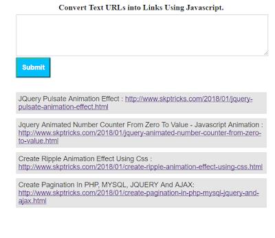 Convert Text URLs into Links Using Javascript : https://goo.gl/JZLKmF