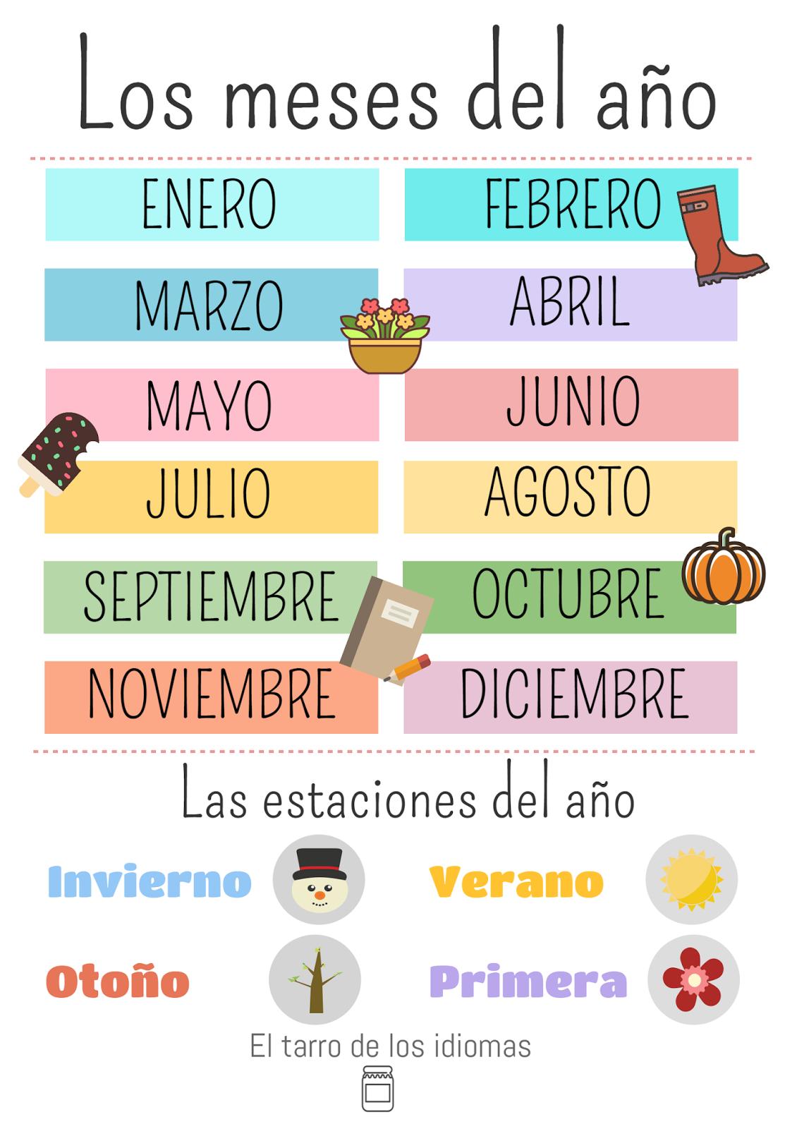 Poster Meses Del Ano Y Dias De La Semana Espanol Ingles