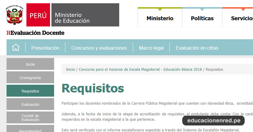 MINEDU: Requisitos para el Concurso de Ascenso de Nivel 2018 - www.minedu.gob.pe