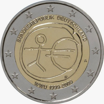 2 Euro Commemorative Coins Germany 2009 Economic and Monetary Union