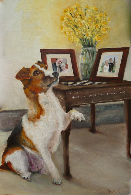An oil painting of Wedding photos or an Interior with a Jack Russell