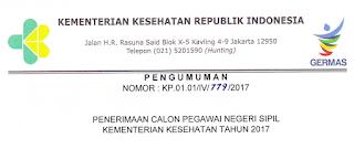 Penerimaan CPNS Kementerian Kesehatan Tahun 2017 [1000 Formasi]