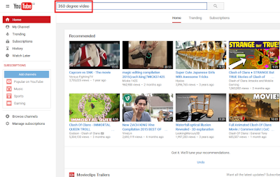 Mencoba Video 360 Derajat di YouTube