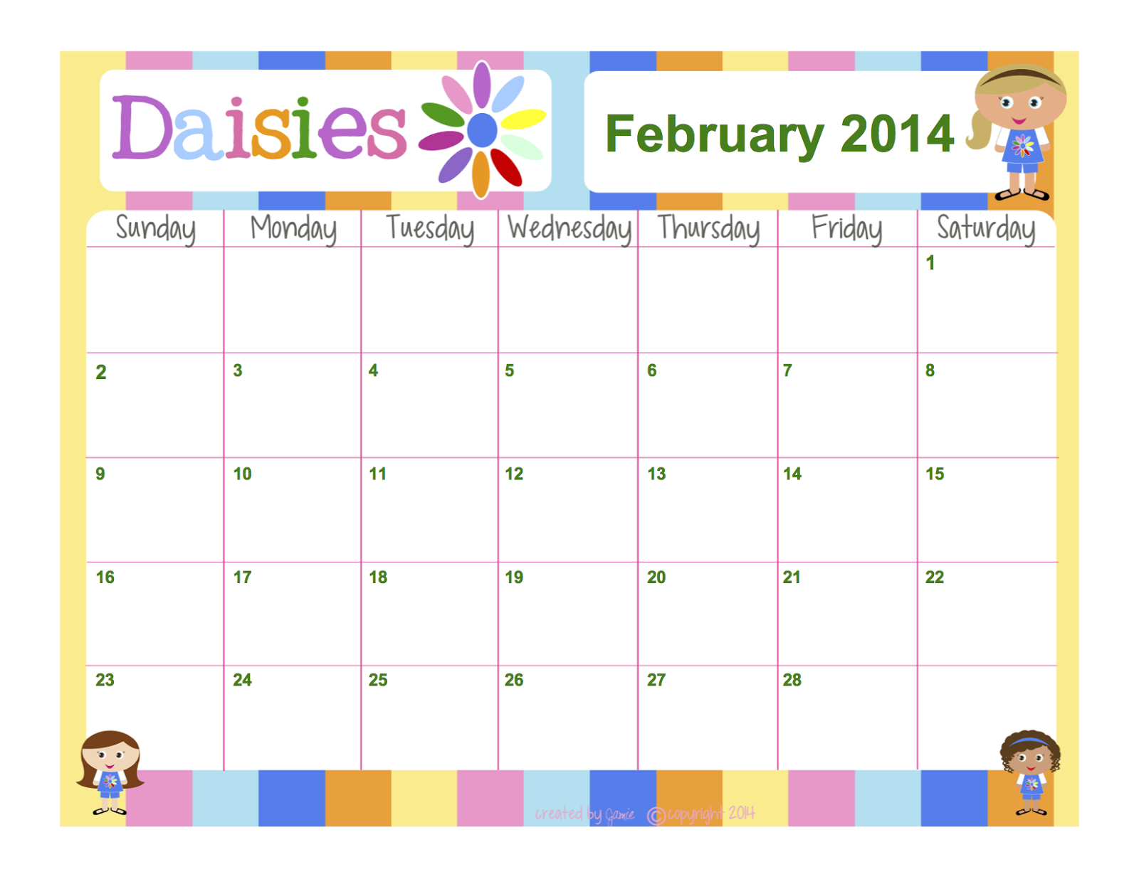 girl scout calendar template my fashionable designs girl scouts daisies free
