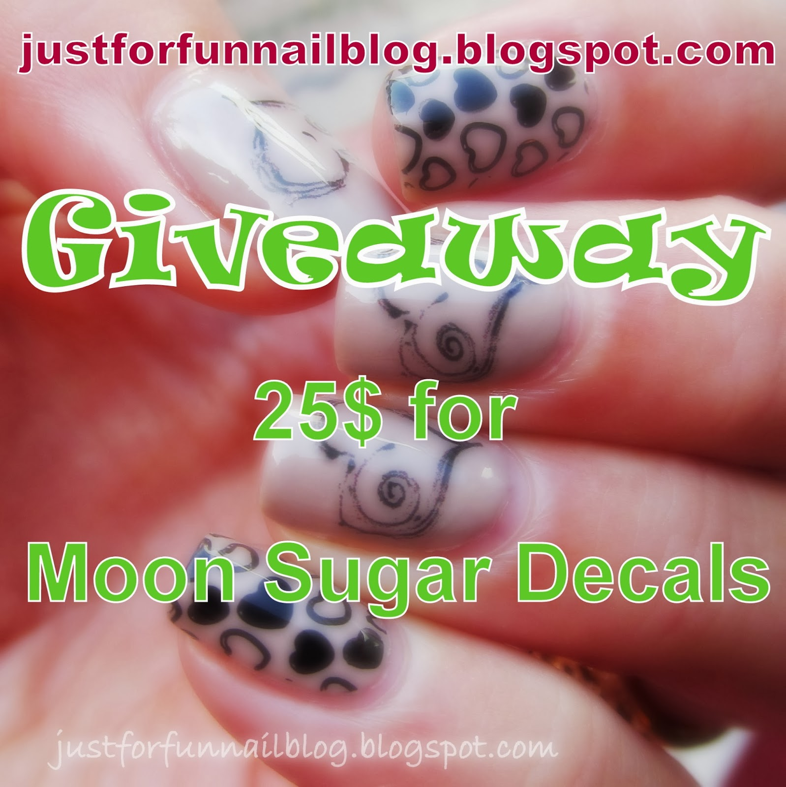 Just For Fun Twitter Giveaway By: Just For Fun: Moon Sugar Decals Review + Giveaway