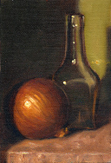 Oil painting of a brown onion beside a small, square-based, clear glass bottle.