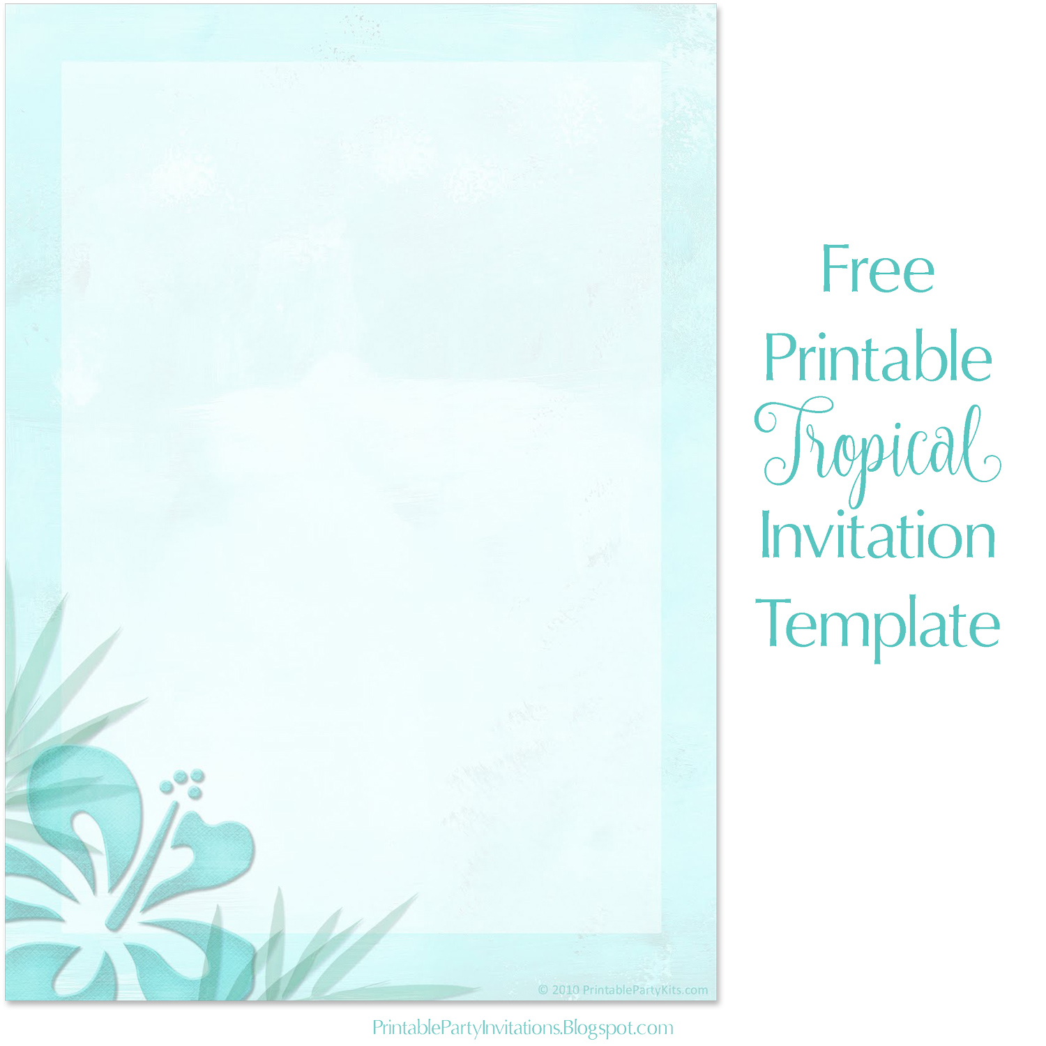 Free Printable Party Invitations Tropical Beach