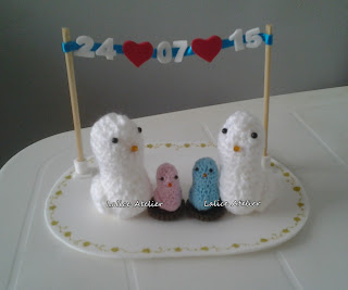 topo bolo pombinhos,topo bolo amigurumi,topo bolo casal passarinhos,topo bolo passarinhos com filhotes,topo bolo varal data