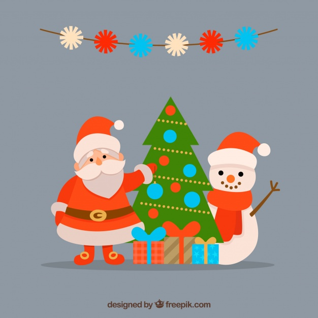 Merry christmas with santa and snowman Free Vector