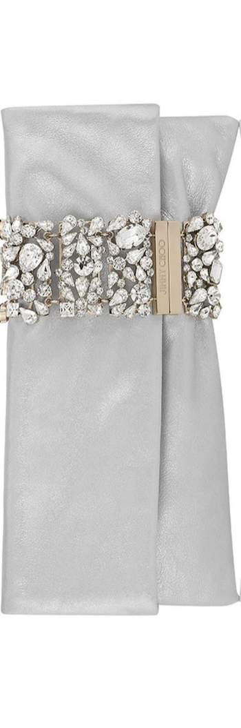 Jimmy Choo Chandra Diamond Metallic Leather with Hollywood Crystal Bracelet Clutch
