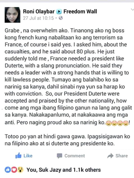 Netizen shares foreign employer's perception of Duterte