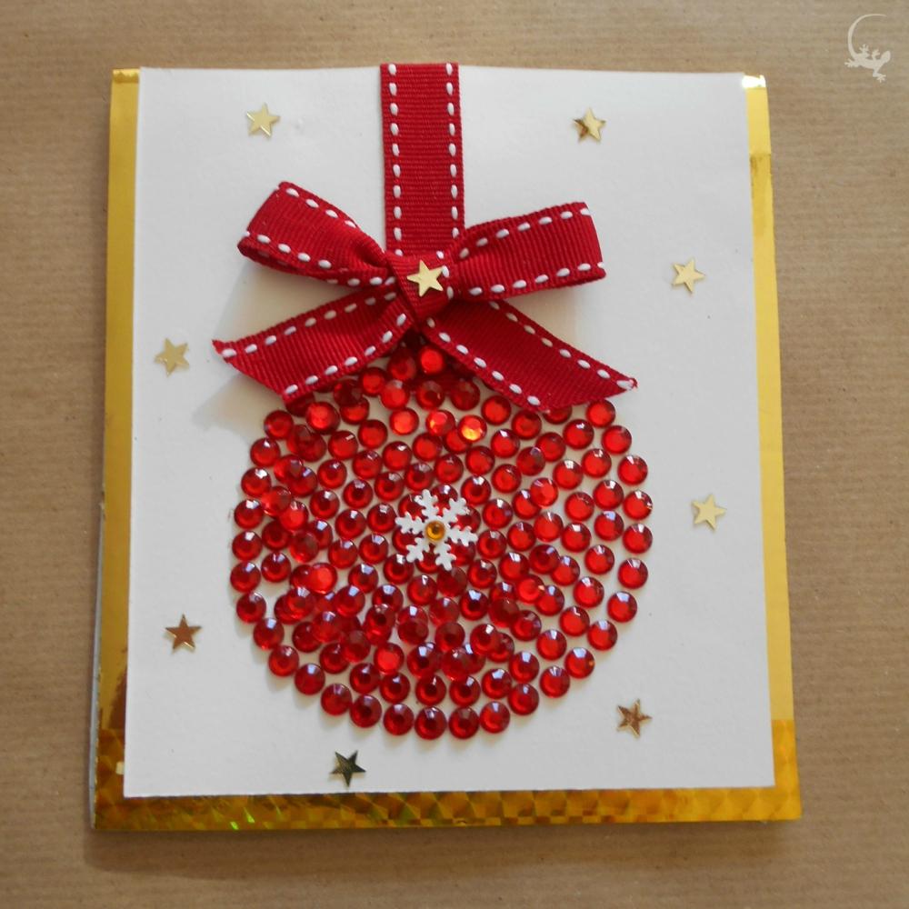 Favorito Biglietto di Natale con palla dell'albero di brillantini e interno  QG44
