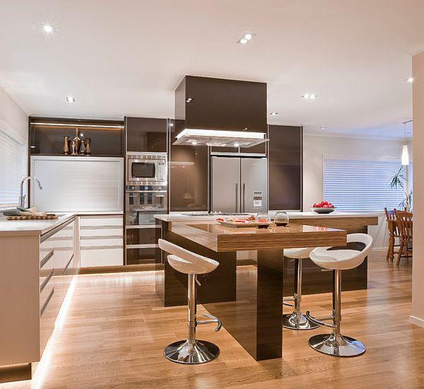 Dise os de cocinas color marr n colores en casa for Muebles de cocina modernos con isla