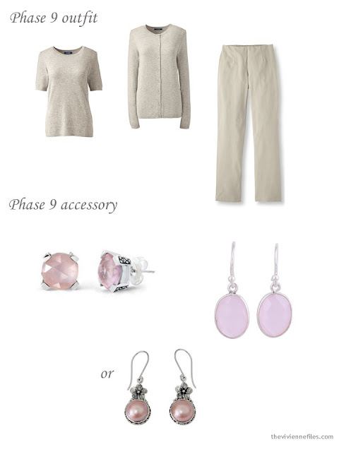 adding pink earrings to a 4 by 4 Wardrobe in black, taupe and pink